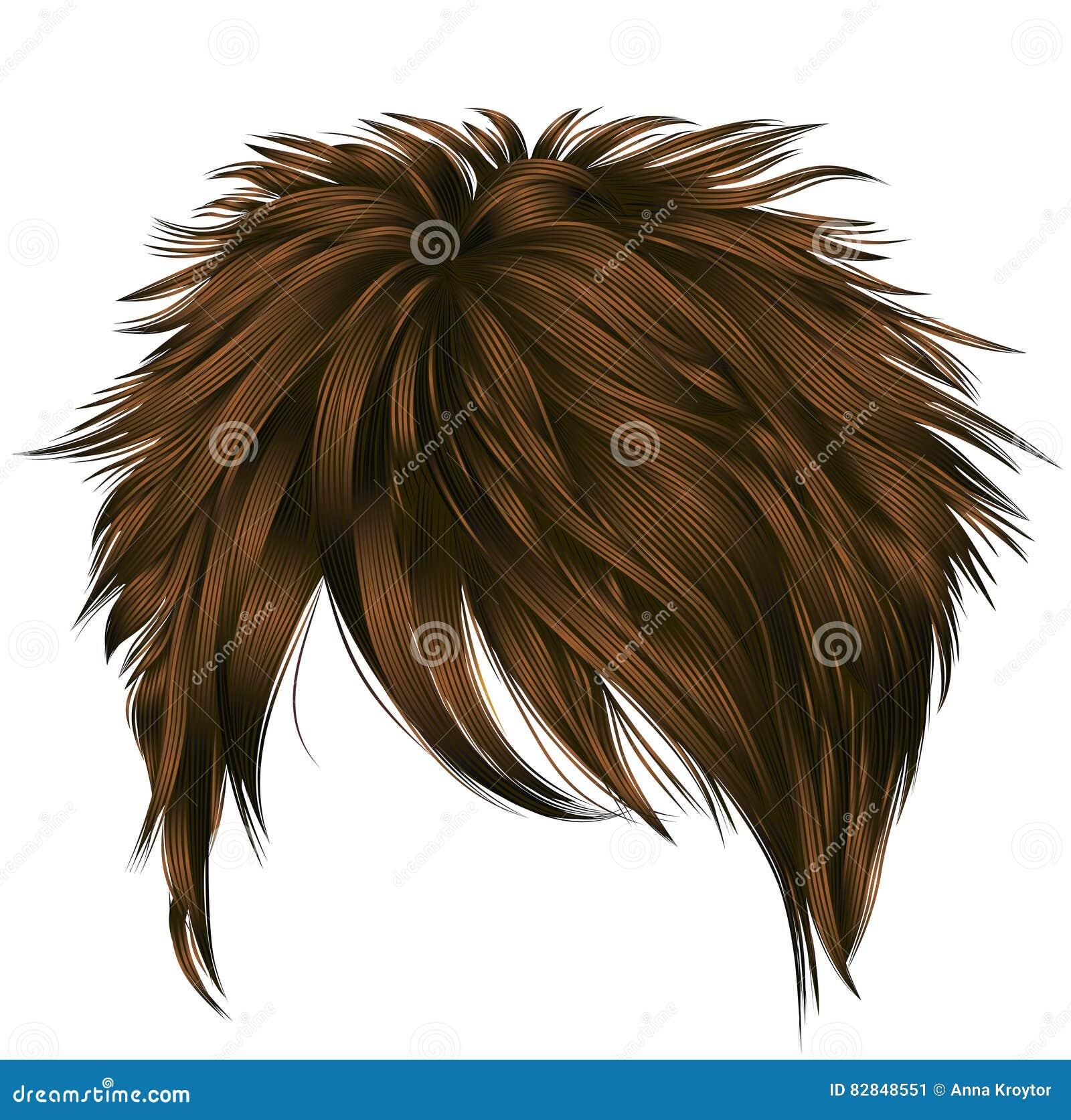 Kurze Haare Der Modischen Frau Mit Franse Dunkelbraune Farbe