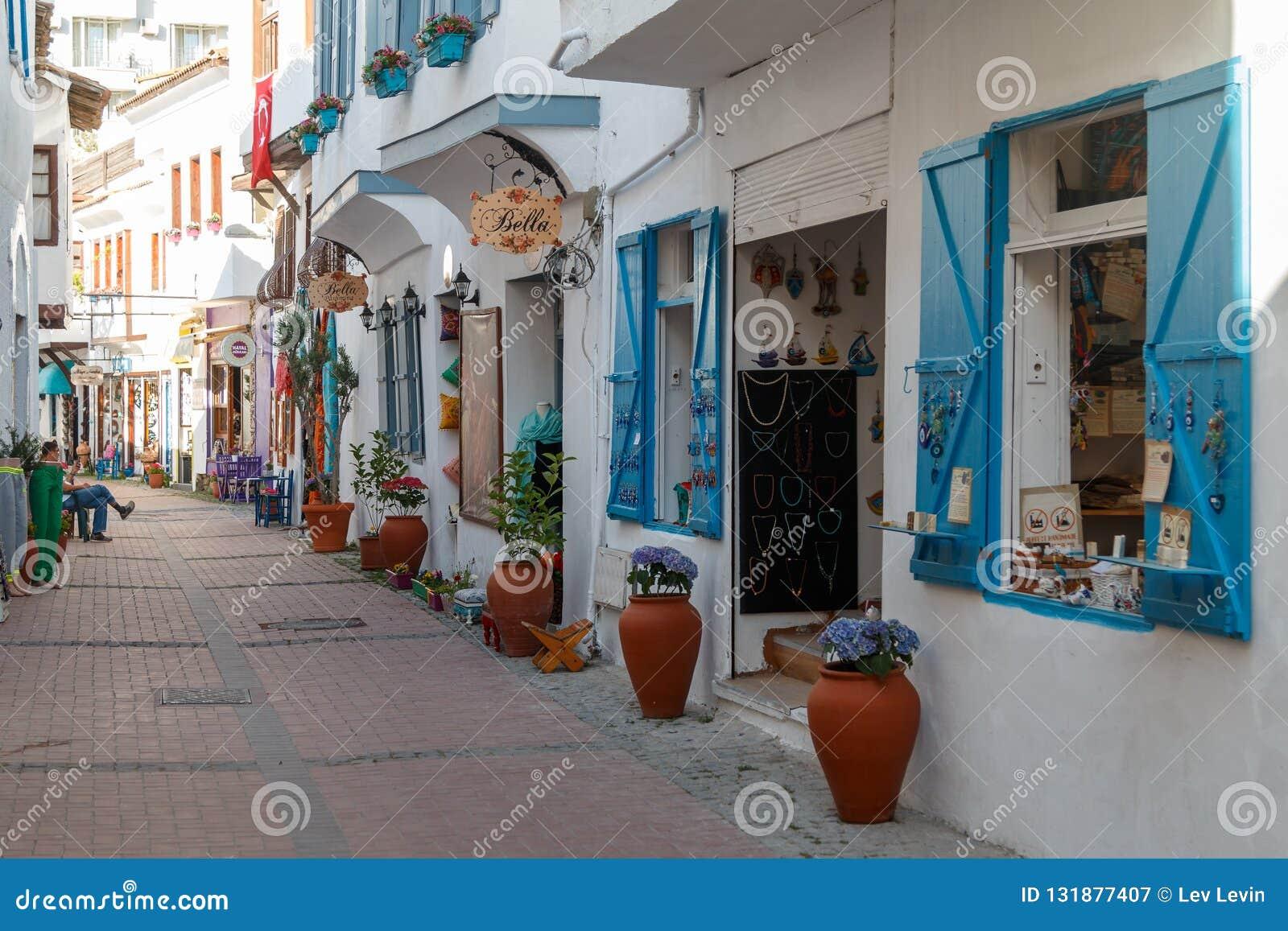 Trade touristic street in the centre of Kusadasi