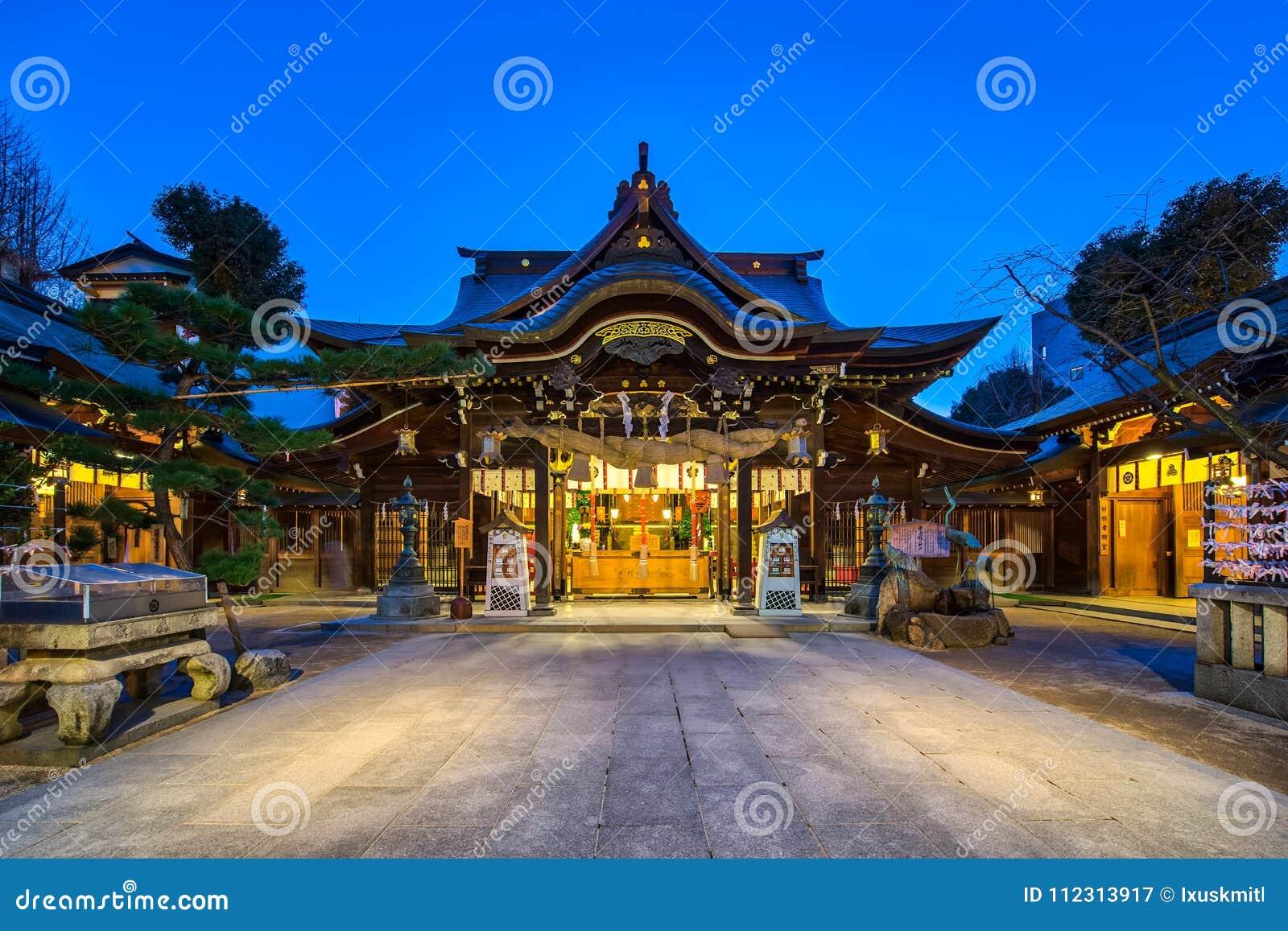 Kushida świątynia w Hakacie, Fukuoka, Japonia przy nocą
