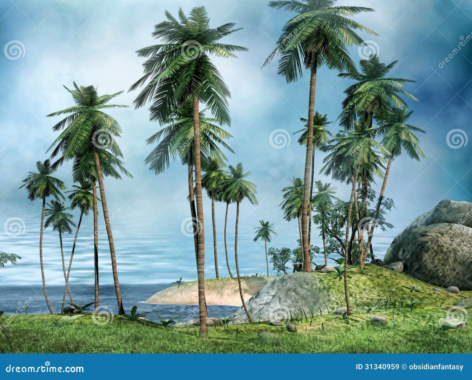 Kust av en tropisk ö