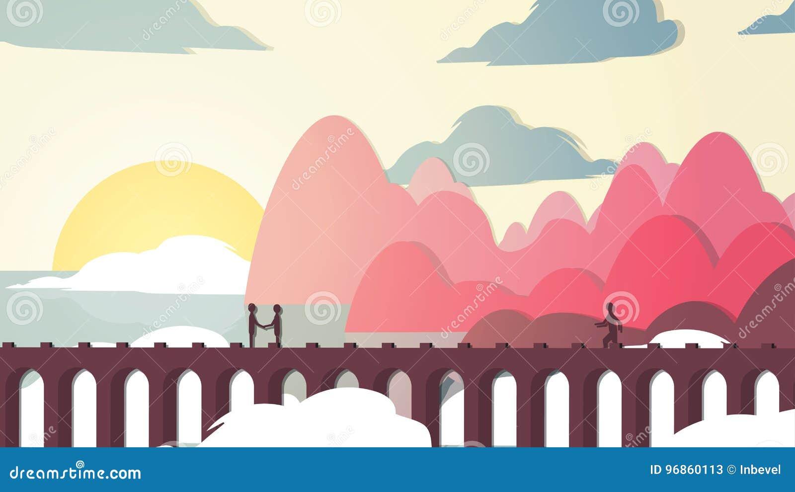 Kust för bro för Papper-snitt stilApplique near med folk - vektor