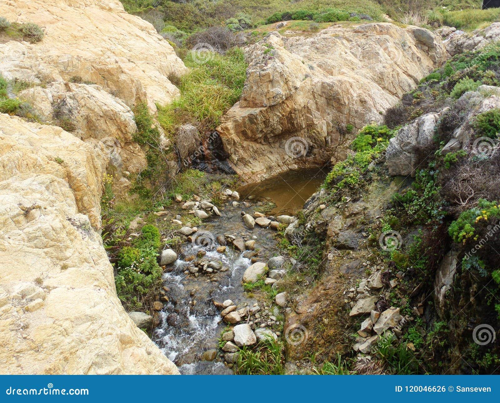 Kust- Kalifornien vaggar och klippor, liten liten vik längs kusten - huvudväg 1 för vägturen ner