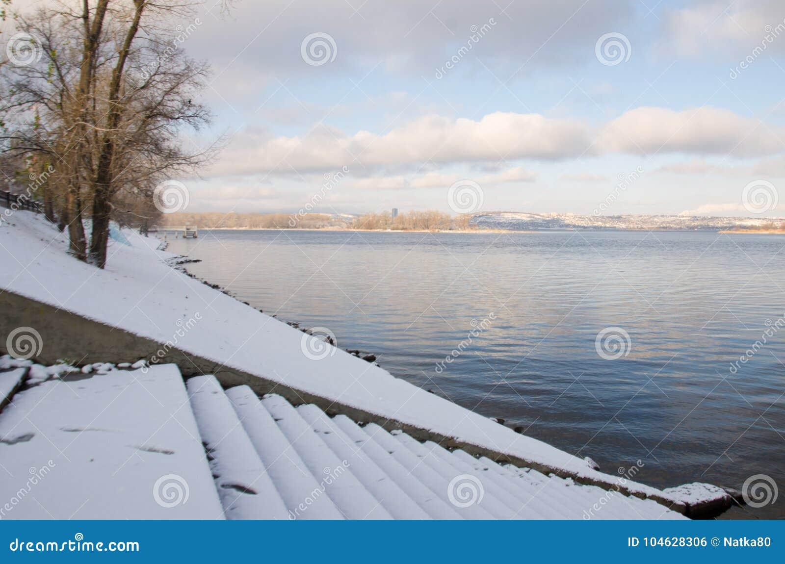 Download Kust van de Volga rivier stock foto. Afbeelding bestaande uit boom - 104628306