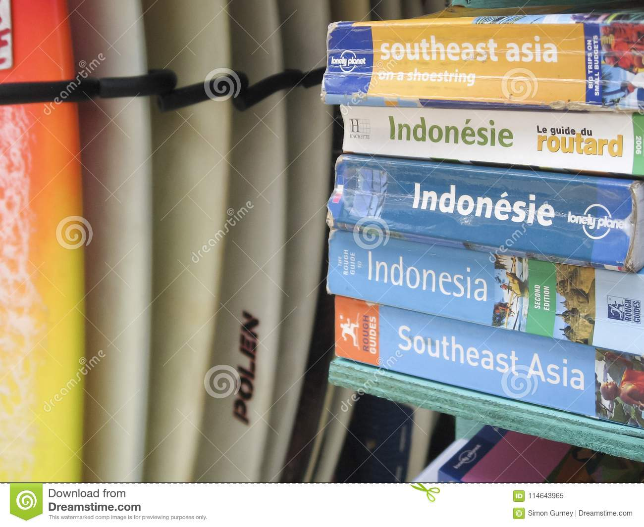 Indonesia Guide Books For Sale Kuta Beach Editorial Image Image Of