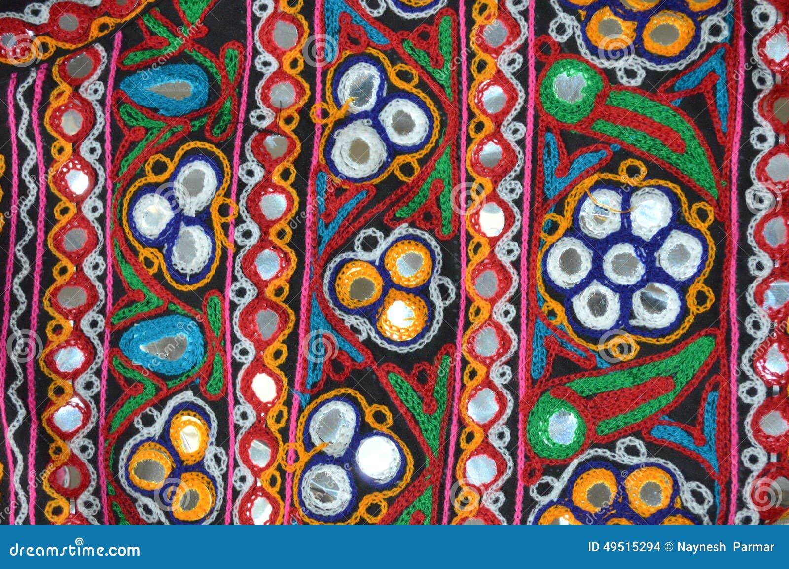 Kutchi embroidery work stock photo image