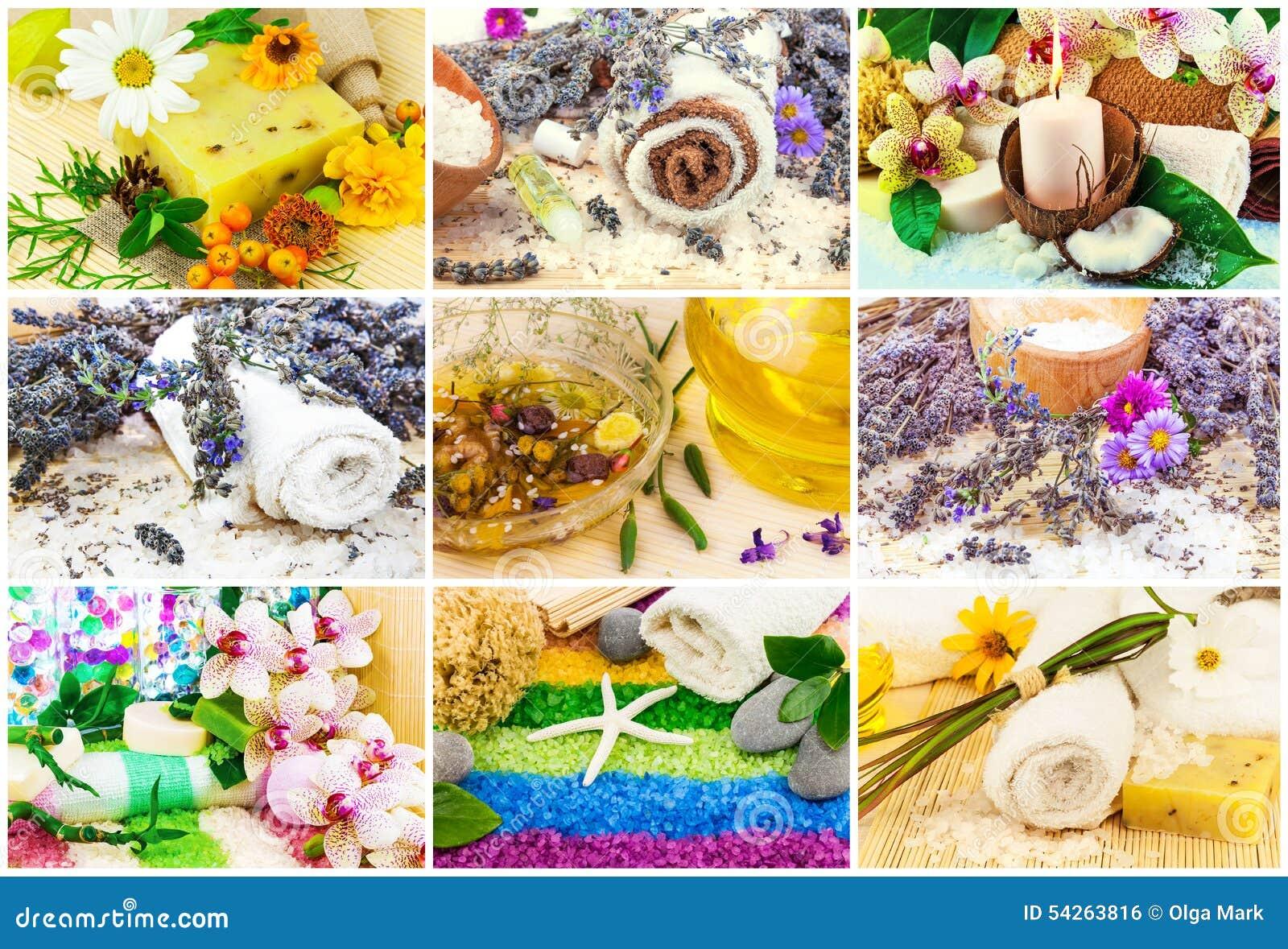 Kuuroord met aromaolie wordt geplaatst, overzees zout, bloemen, lavendel, installaties, slepen dat