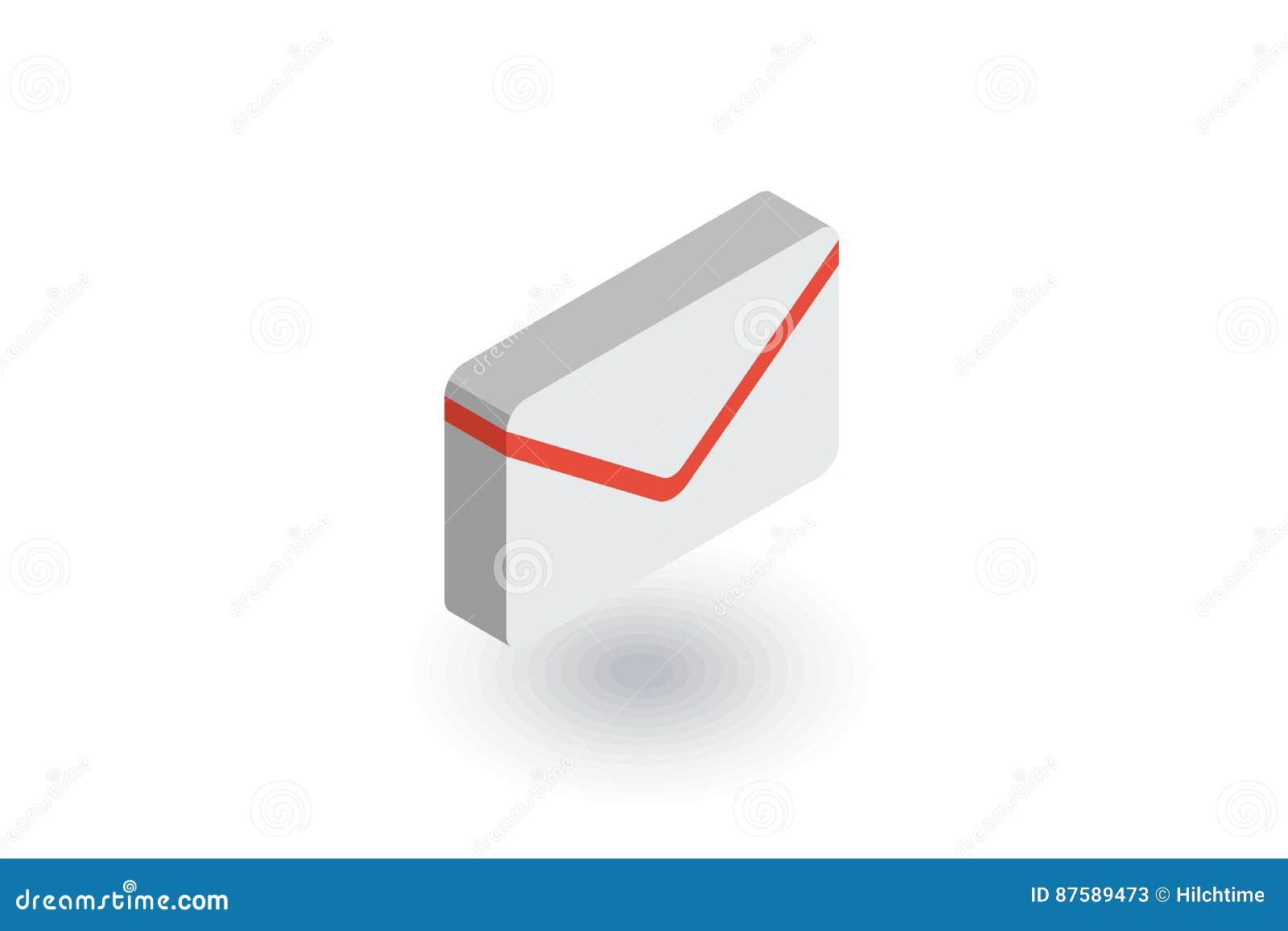 Kuvertet emailbokstav, postar den isometriska plana symbolen vektor 3d