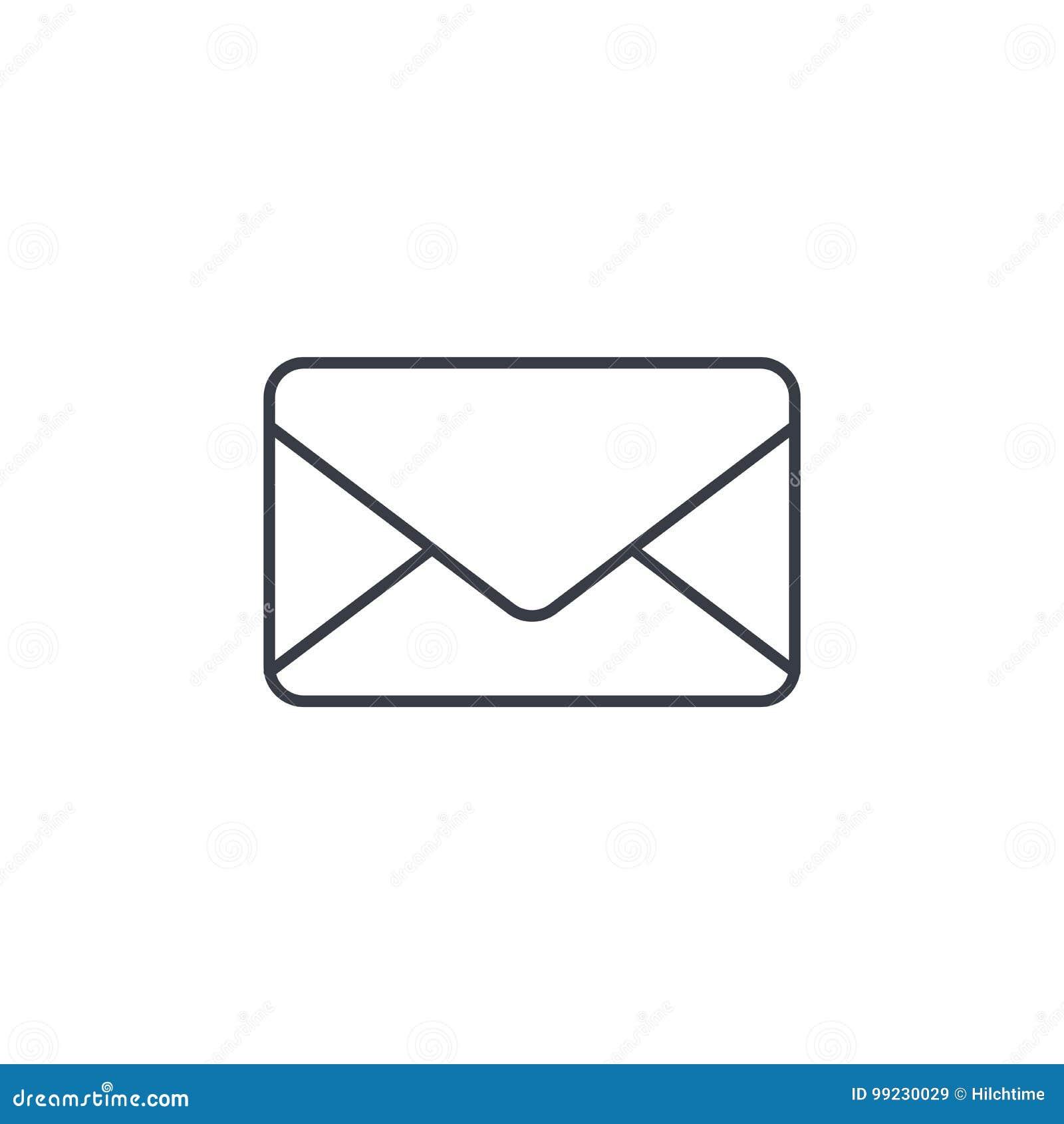 Kuvertet emailbokstav, postar den tunna linjen symbol Linjärt vektorsymbol