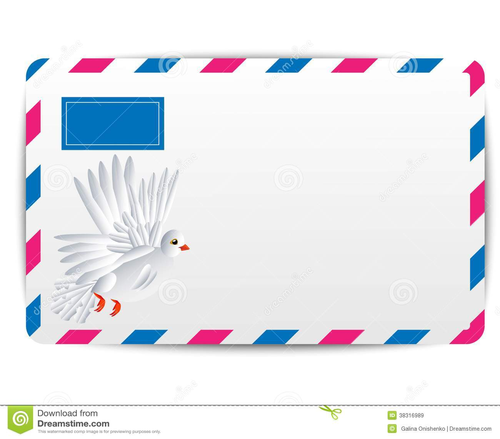 Kuvertluft med den utdragna vita duvan