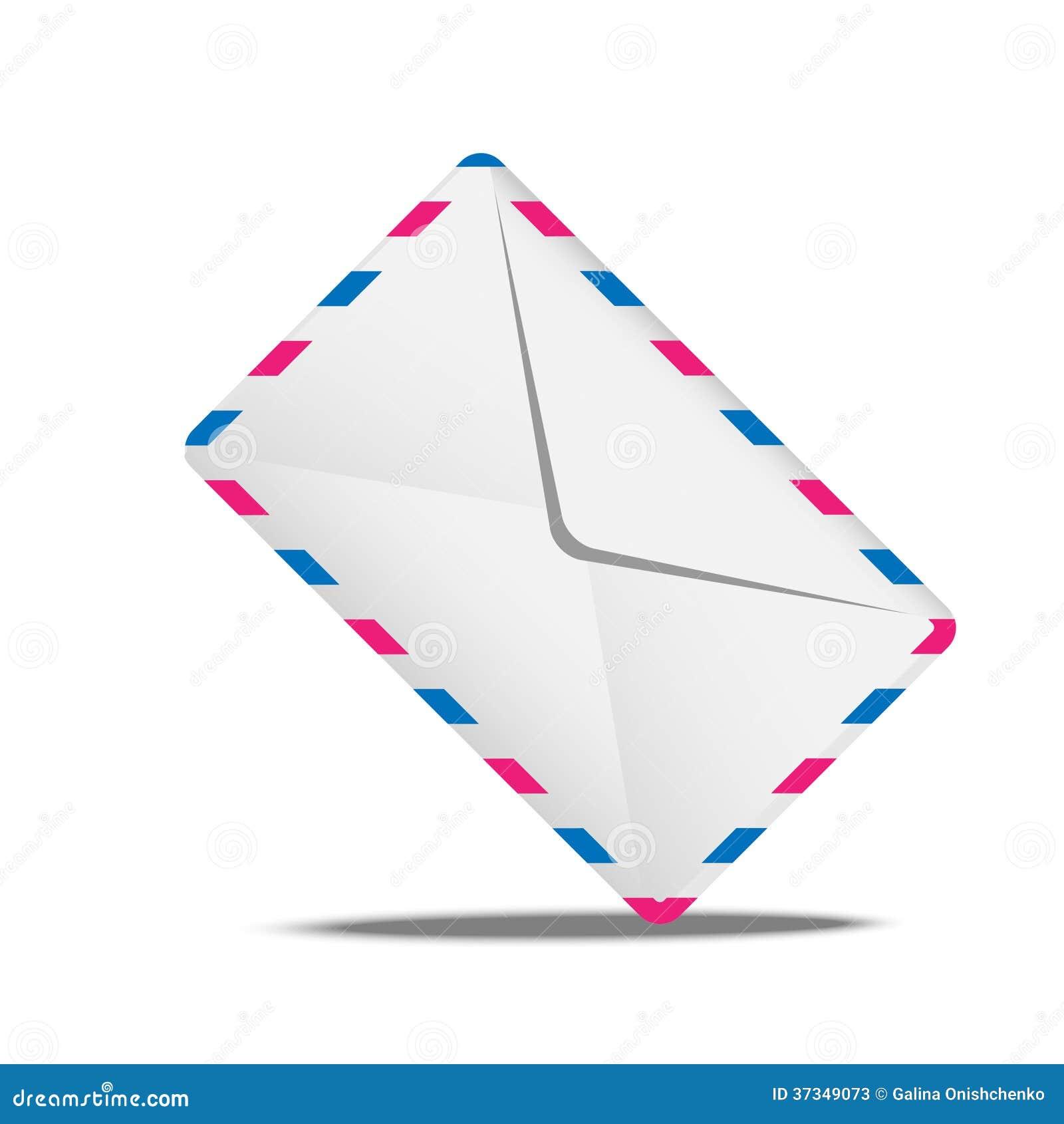 Kuvertluft på en vit bakgrund