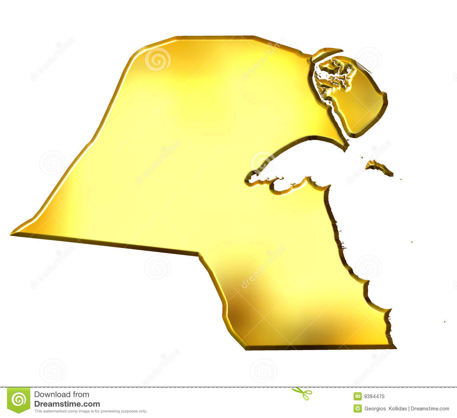 Kuwait 3d Golden Map Royalty Free Stock Photo - Image: 9394475