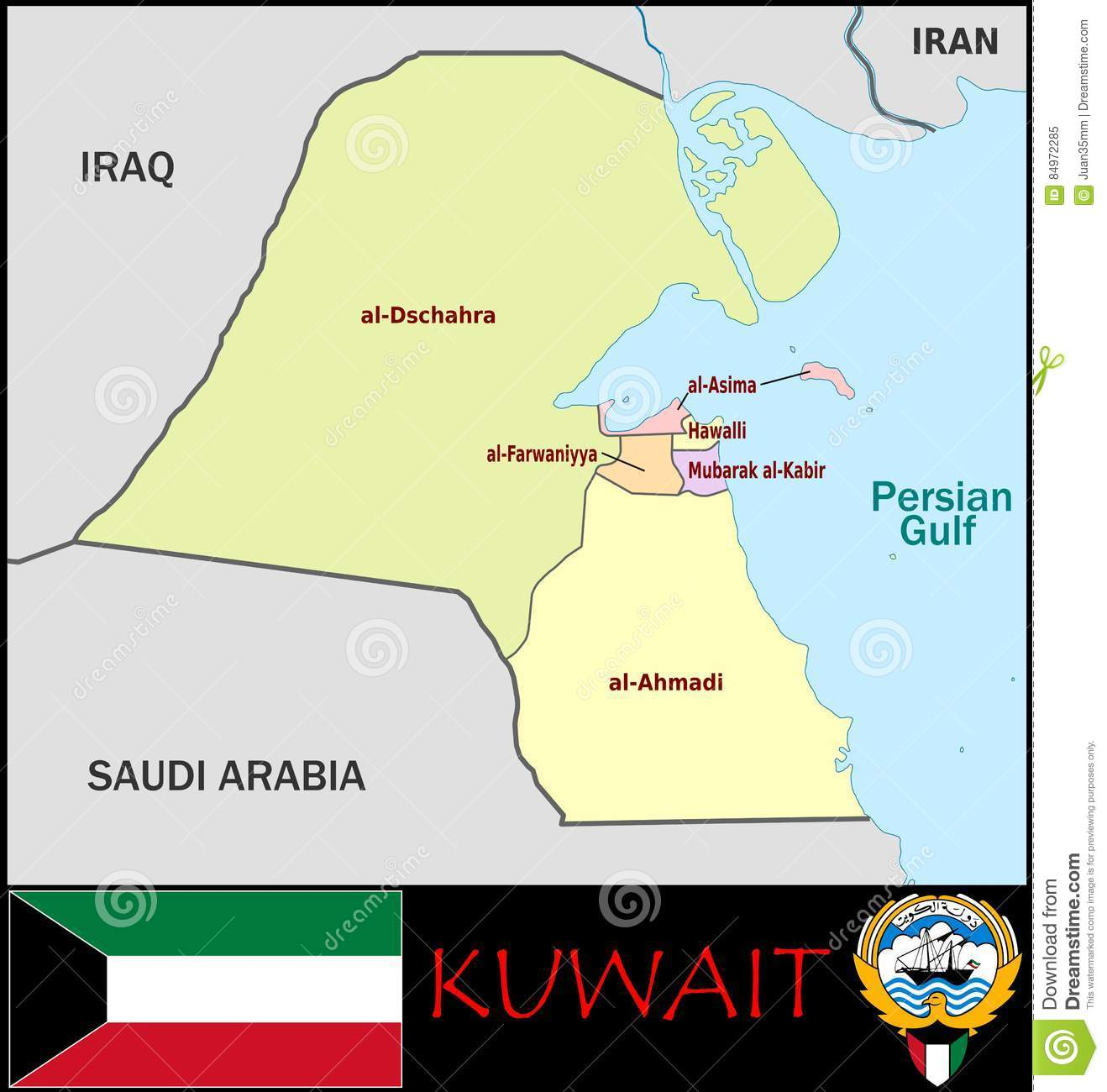 Kuwait Administrative Divisions Stock Illustration ...
