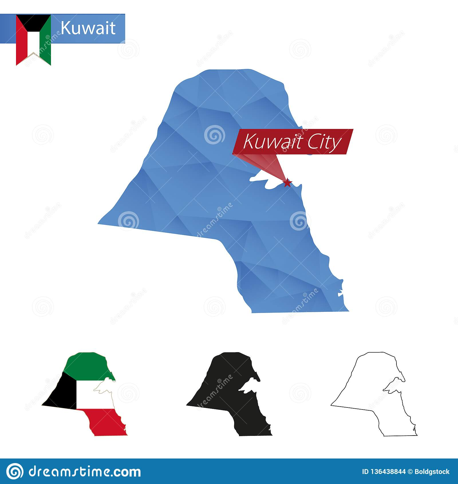 Kuwait Blue Low Poly Map With Capital Kuwait City Stock Vector