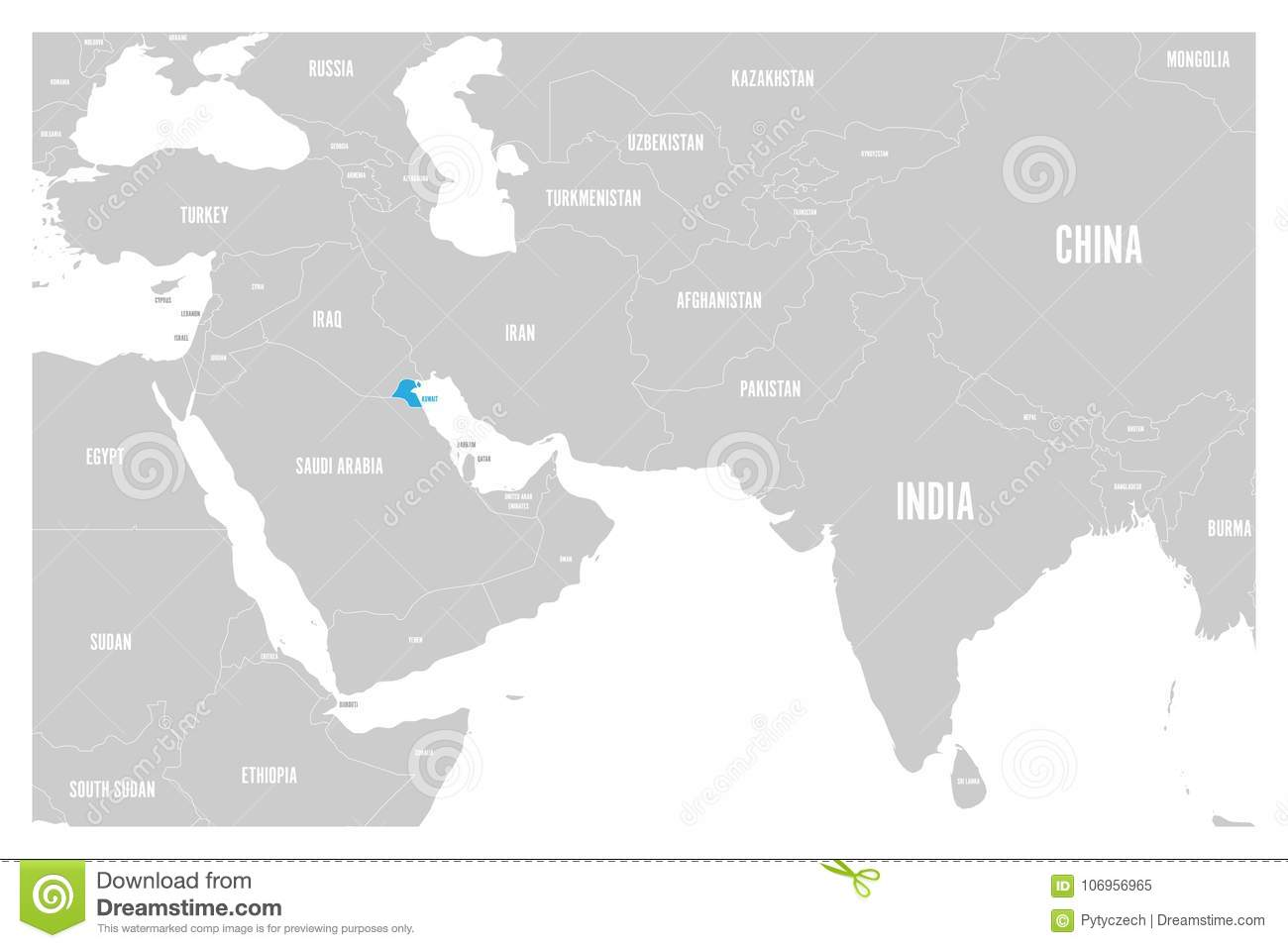 Kuwait blue marked in political map of south asia and middle east download comp gumiabroncs Images