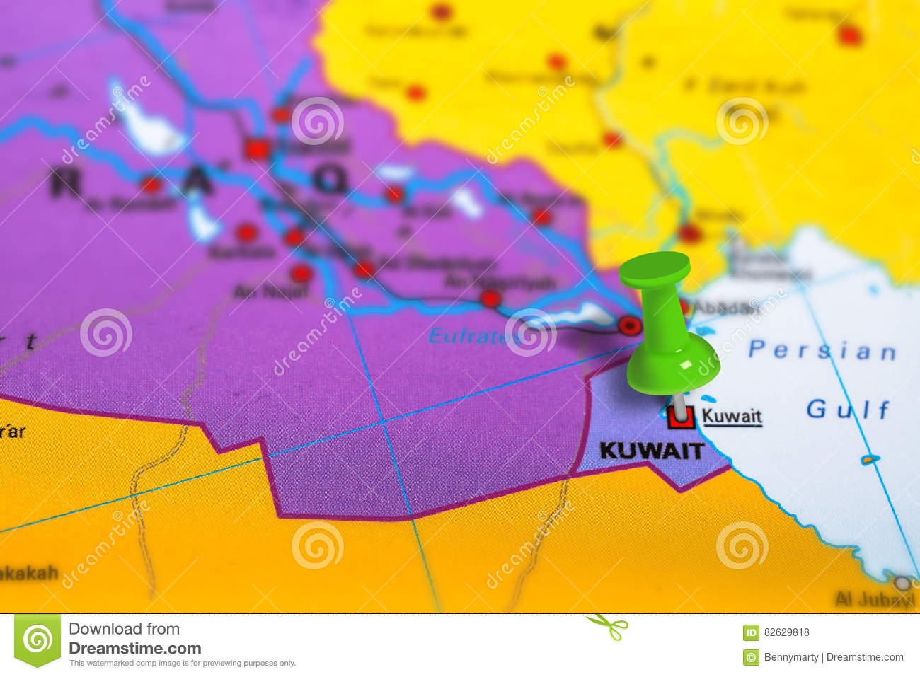 Kuwait city map stock photo  Image of color, city, asia - 82629818