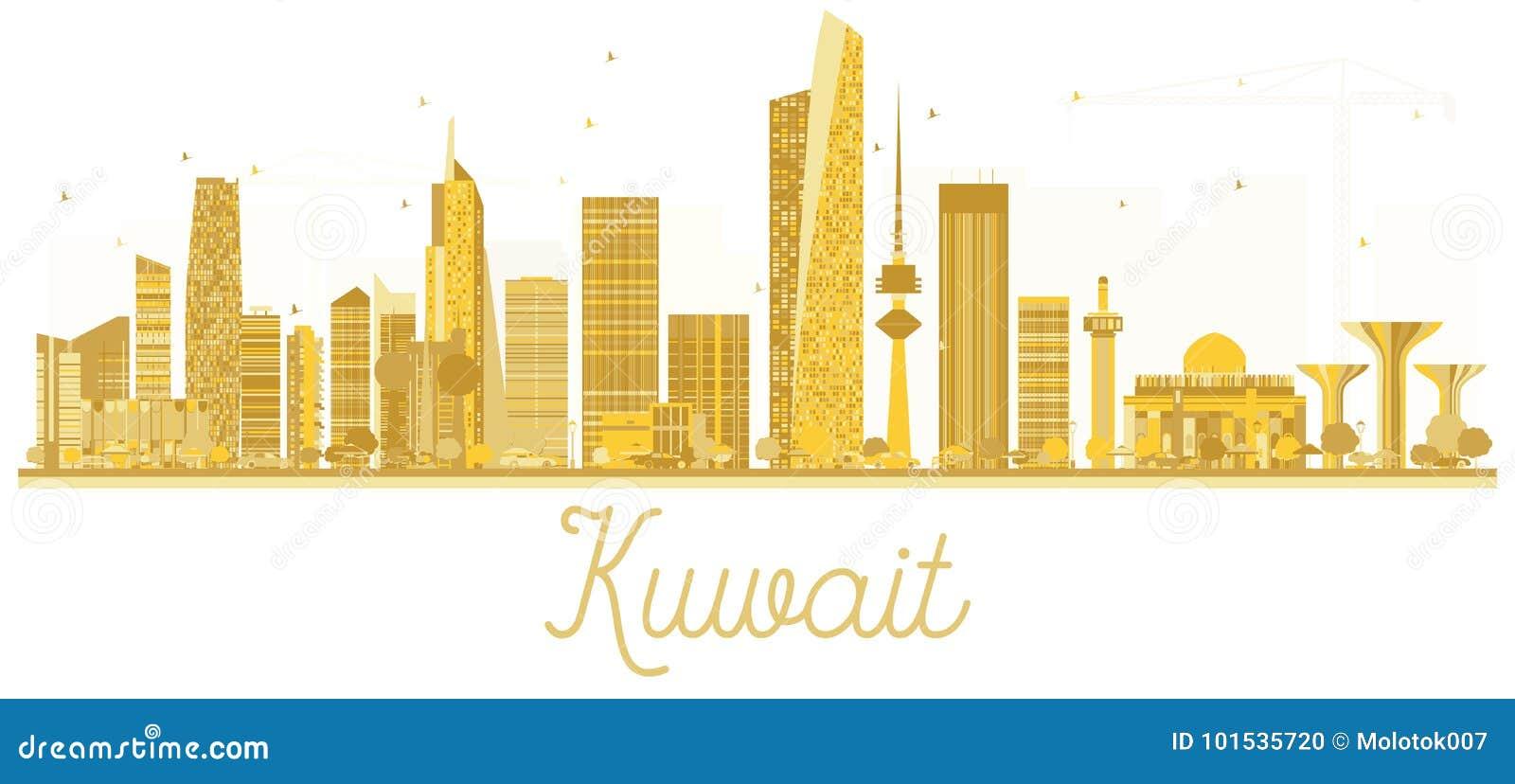 Kuwait City Skyline Golden Silhouette  Stock Vector