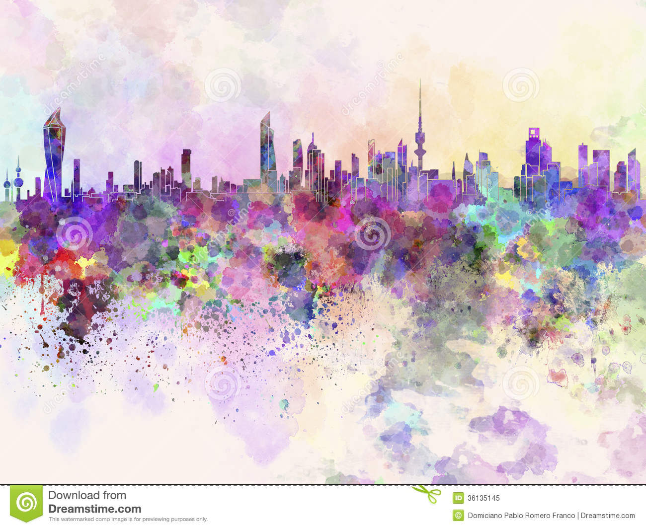 Kuwait City Skyline In Watercolor Background Royalty Free Stock Photo ...