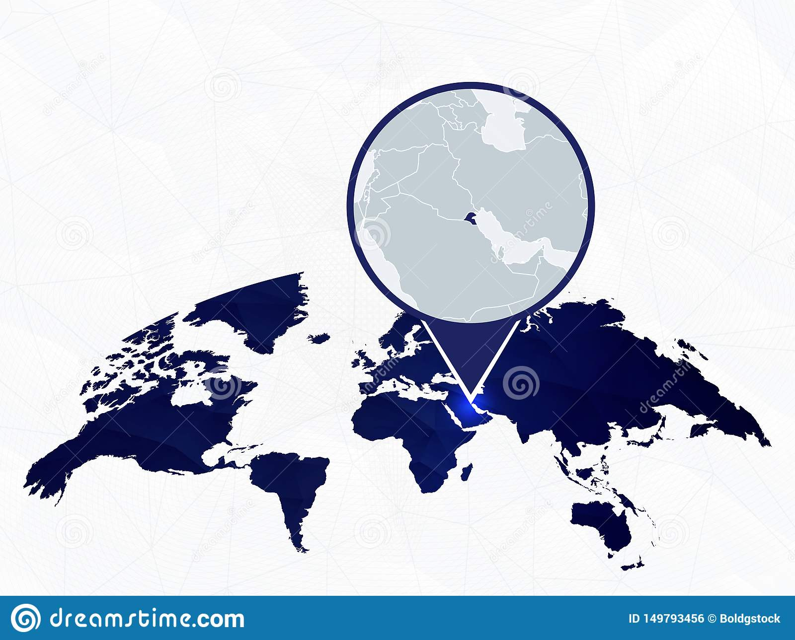 Kuwait Detailed Map Highlighted On Blue Rounded World Map ...