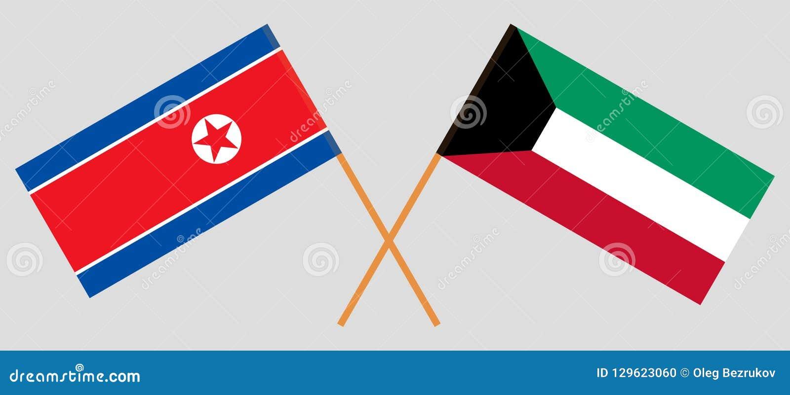 Kuwait e Coreia do Norte Bandeiras kuwaitianas e coreanas Cores oficiais Proporção correta Vetor