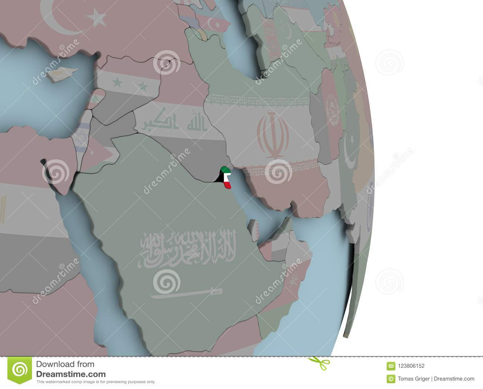 Kuwait Political Map.Map Of Kuwait On Political Globe With Flag Stock Illustration
