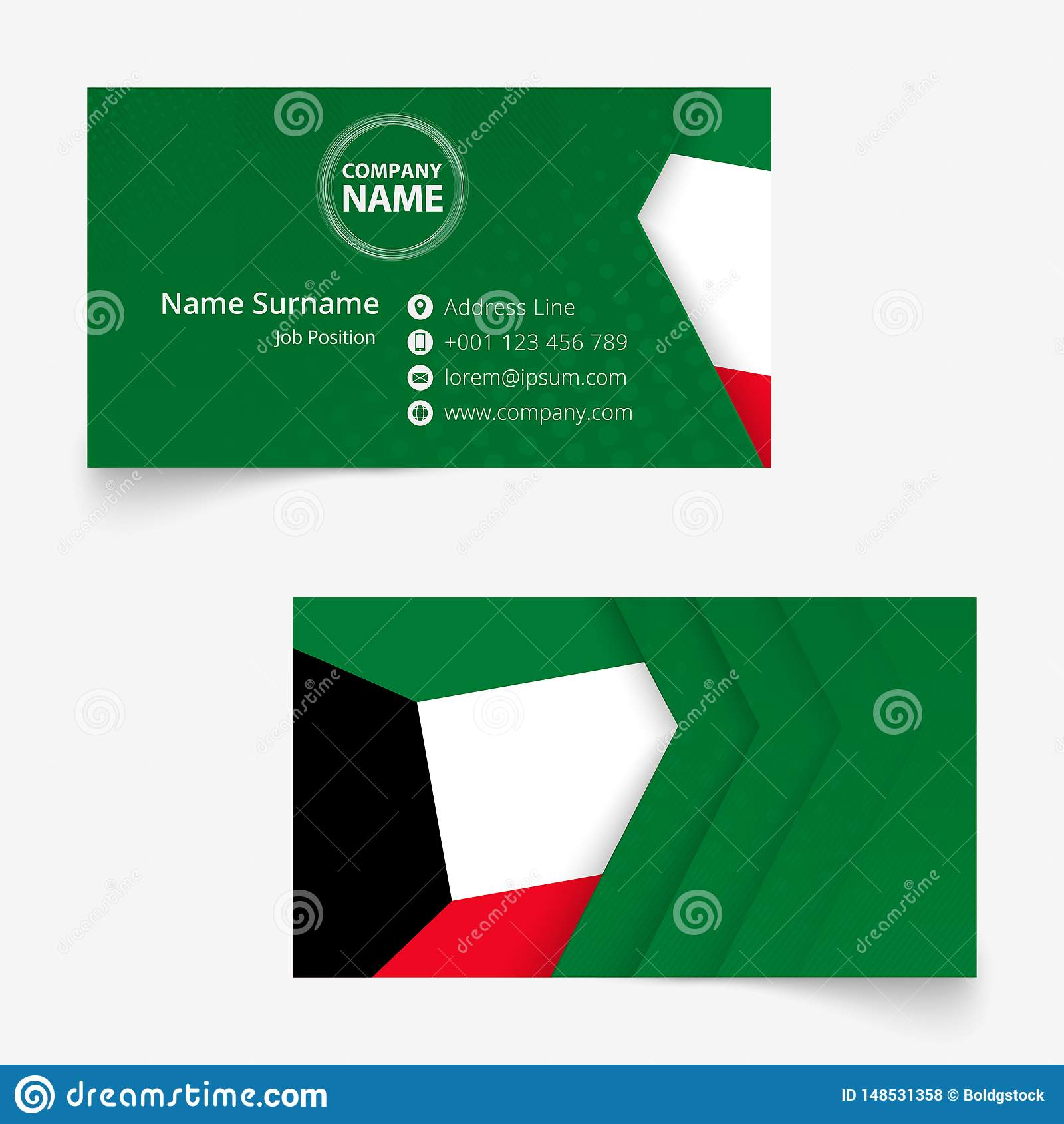 Kuwait Flag Business Card, Standard Size 90x50 Mm Business