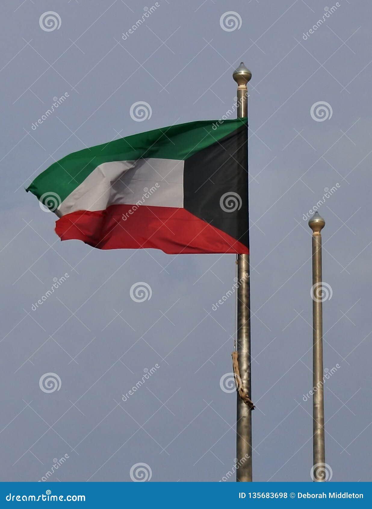 Kuwait-Flagge, die in der Brise plätschert