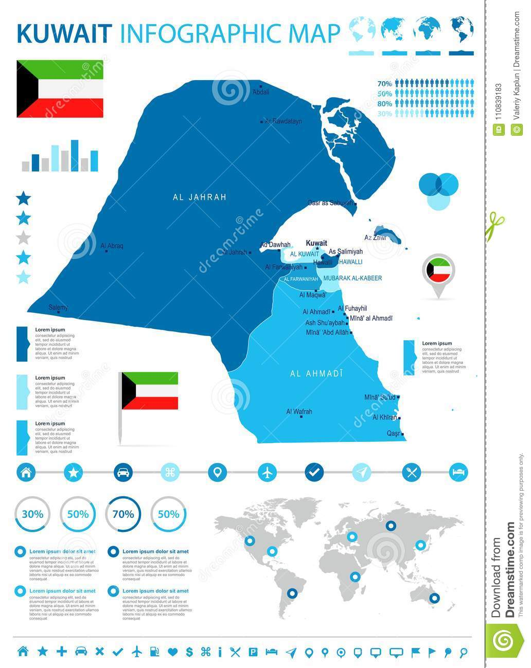 Kuwait - Infographic Map And Flag - Detailed Vector ...