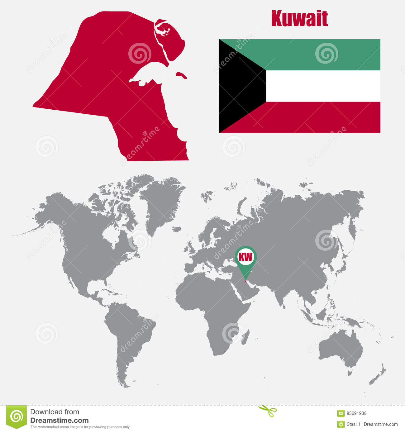 Kuwait map on a world map with flag and map pointer vector download comp gumiabroncs Gallery