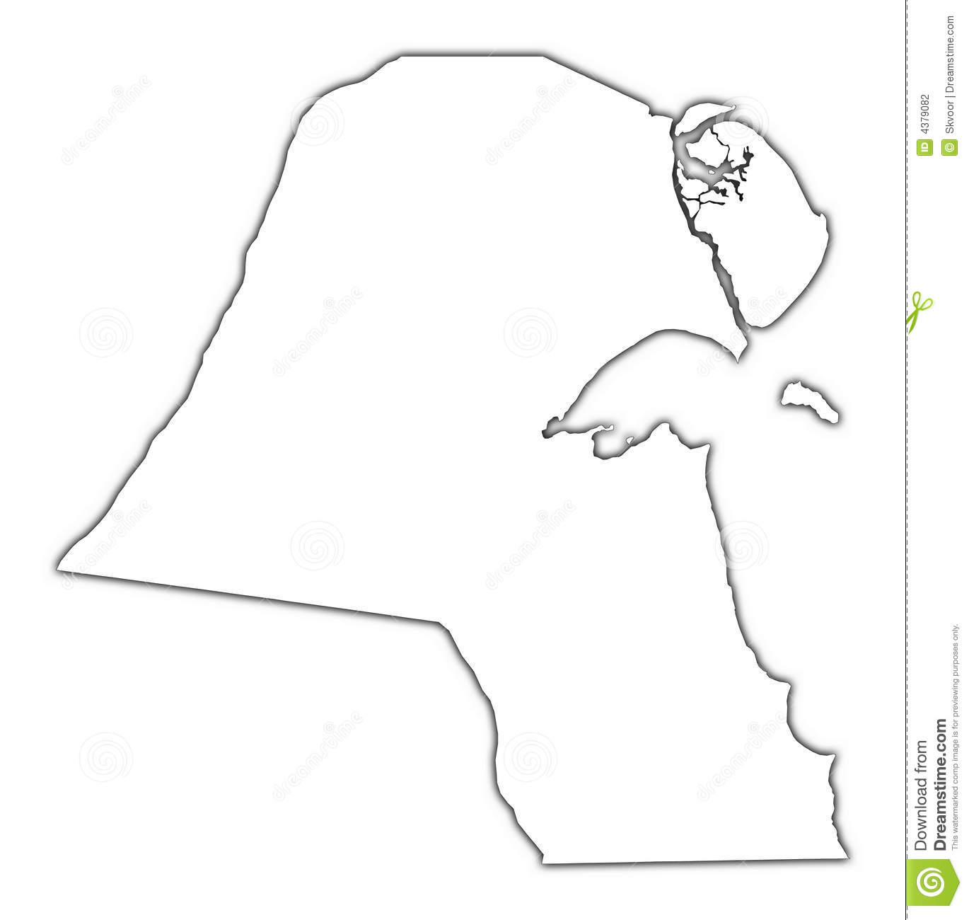 Kuwait Outline Map Stock Photography Image 4379082