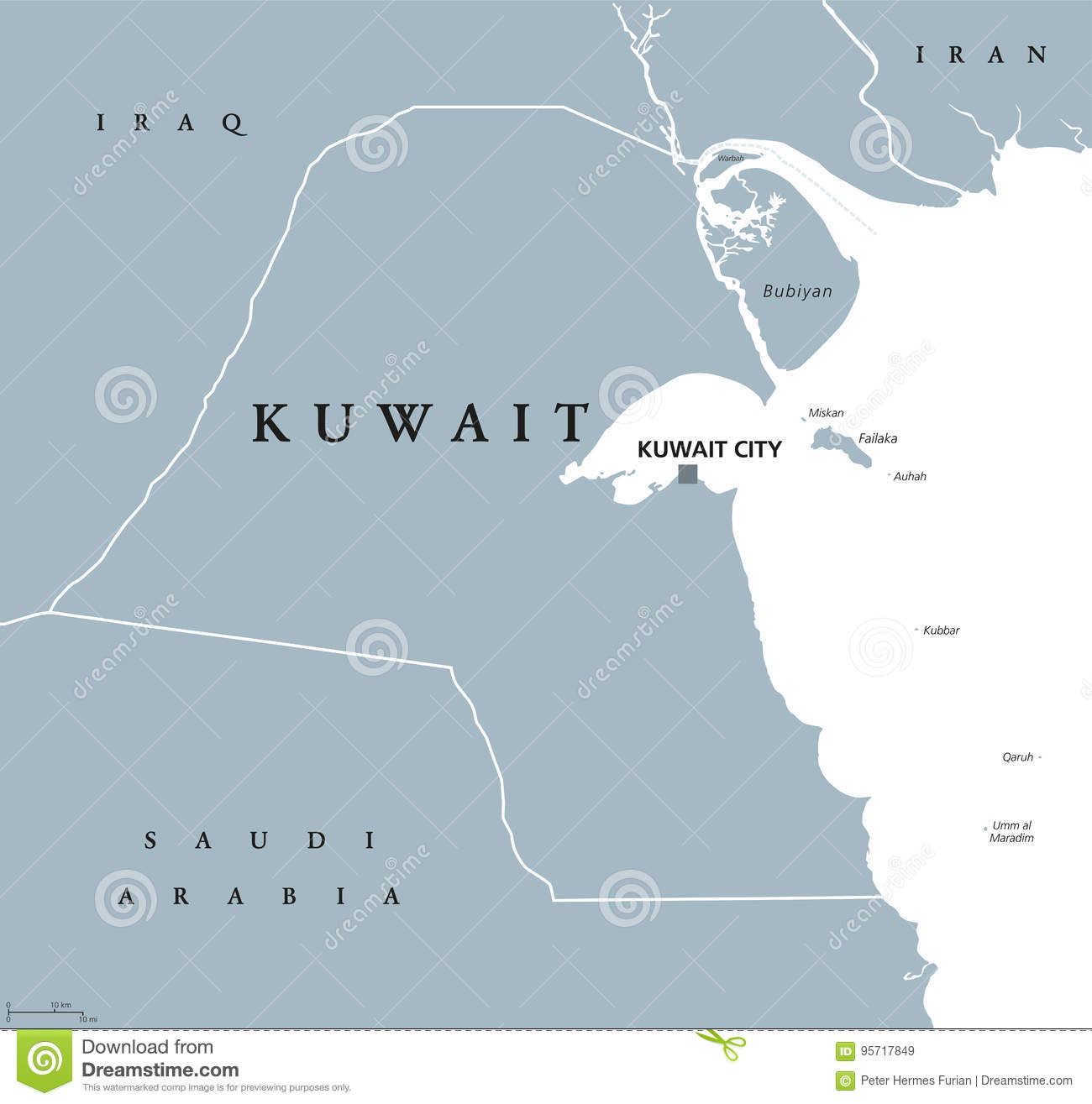 Kuwait political map stock vector. Illustration of city ...