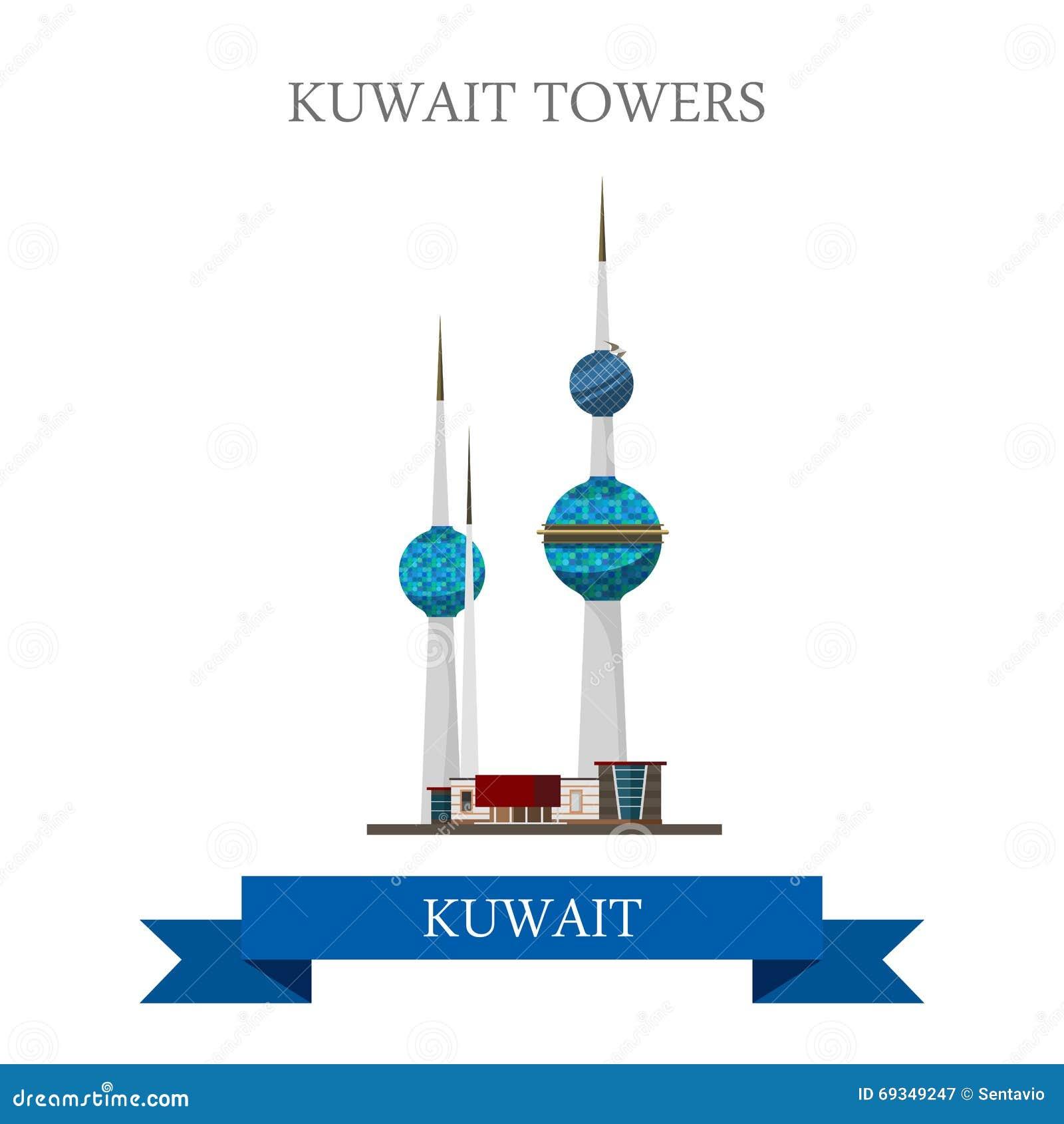 New Zealand Floor Plans Kuwait Towers Vector Flat Attraction Landmarks Stock