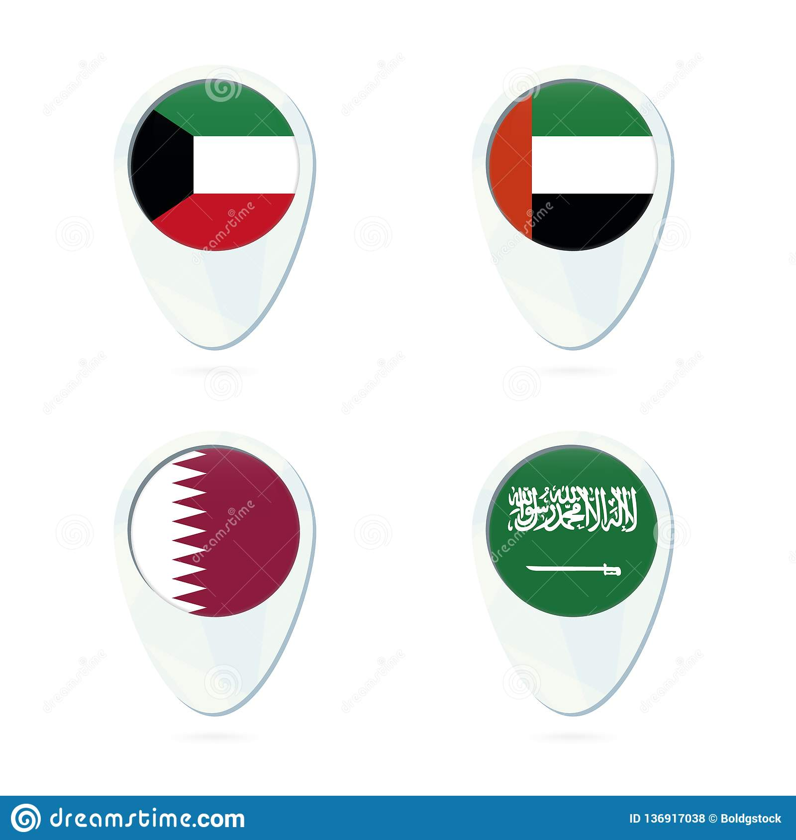Kuwait, United Arab Emirates, Qatar, Saudi Arabia Flag Location Map ...
