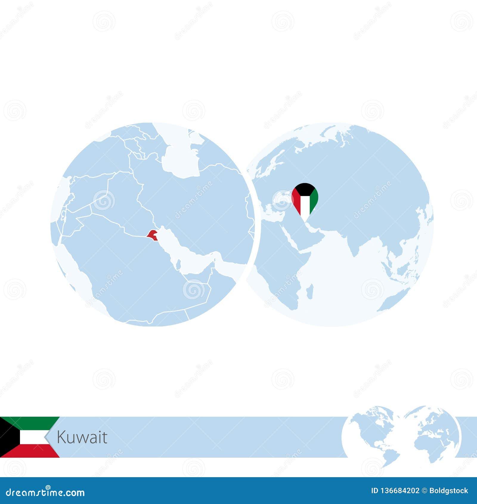 Kuwait On World Globe With Flag And Regional Map Of Kuwait Stock ...
