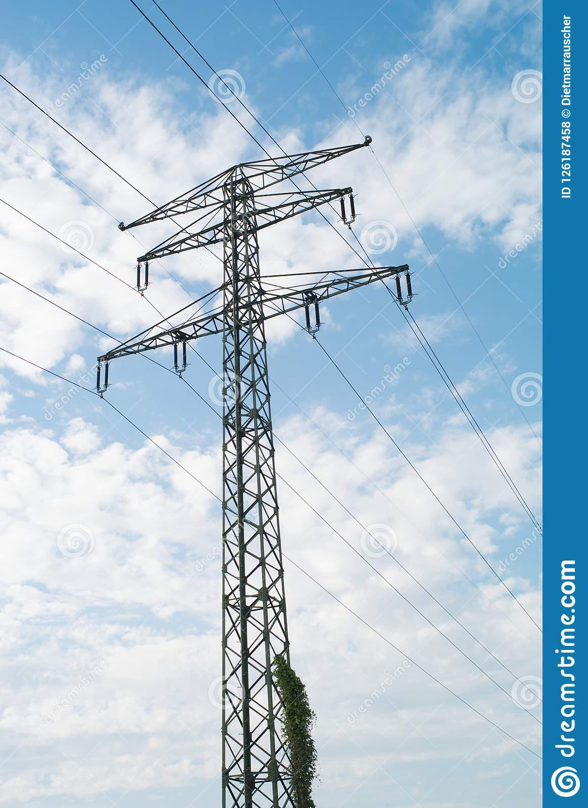 110 kV High Voltage Pylon with Two Optical Ground Wires