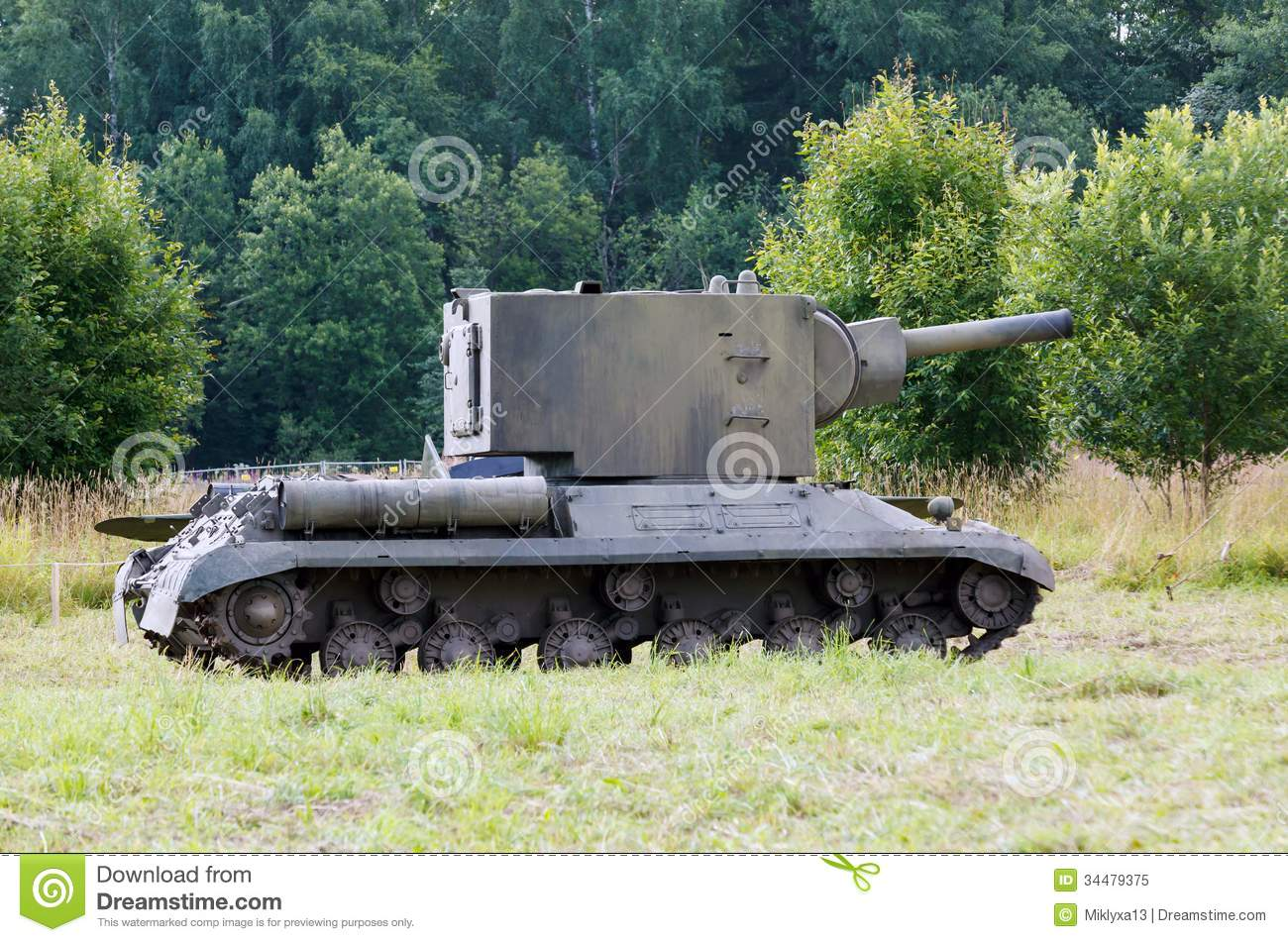 Kv-2 Tank On The Field Royalty Free Stock Photo - Image: 34479375