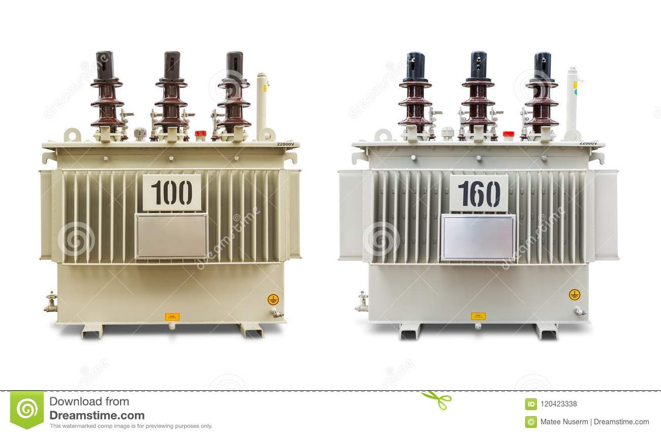 100 And 160 KVA Oil Immersed Transformers Stock Photo
