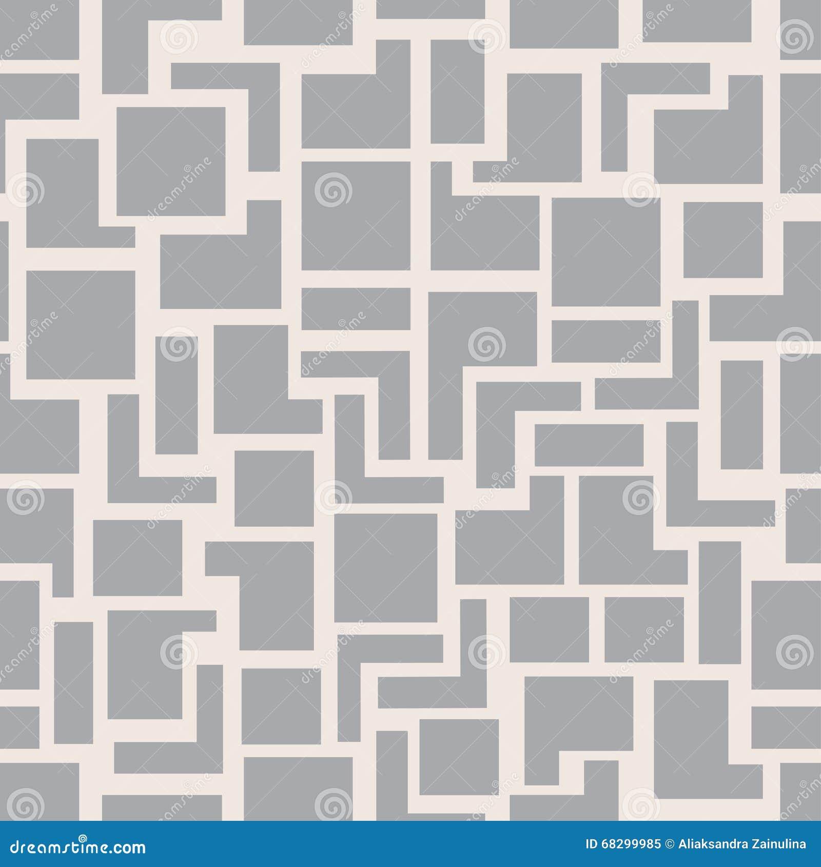 Kvadrerar den moderna sömlösa geometrimodellen för vektorn, abstrakt geometrisk bakgrund för grå färger, monokrom retro textur
