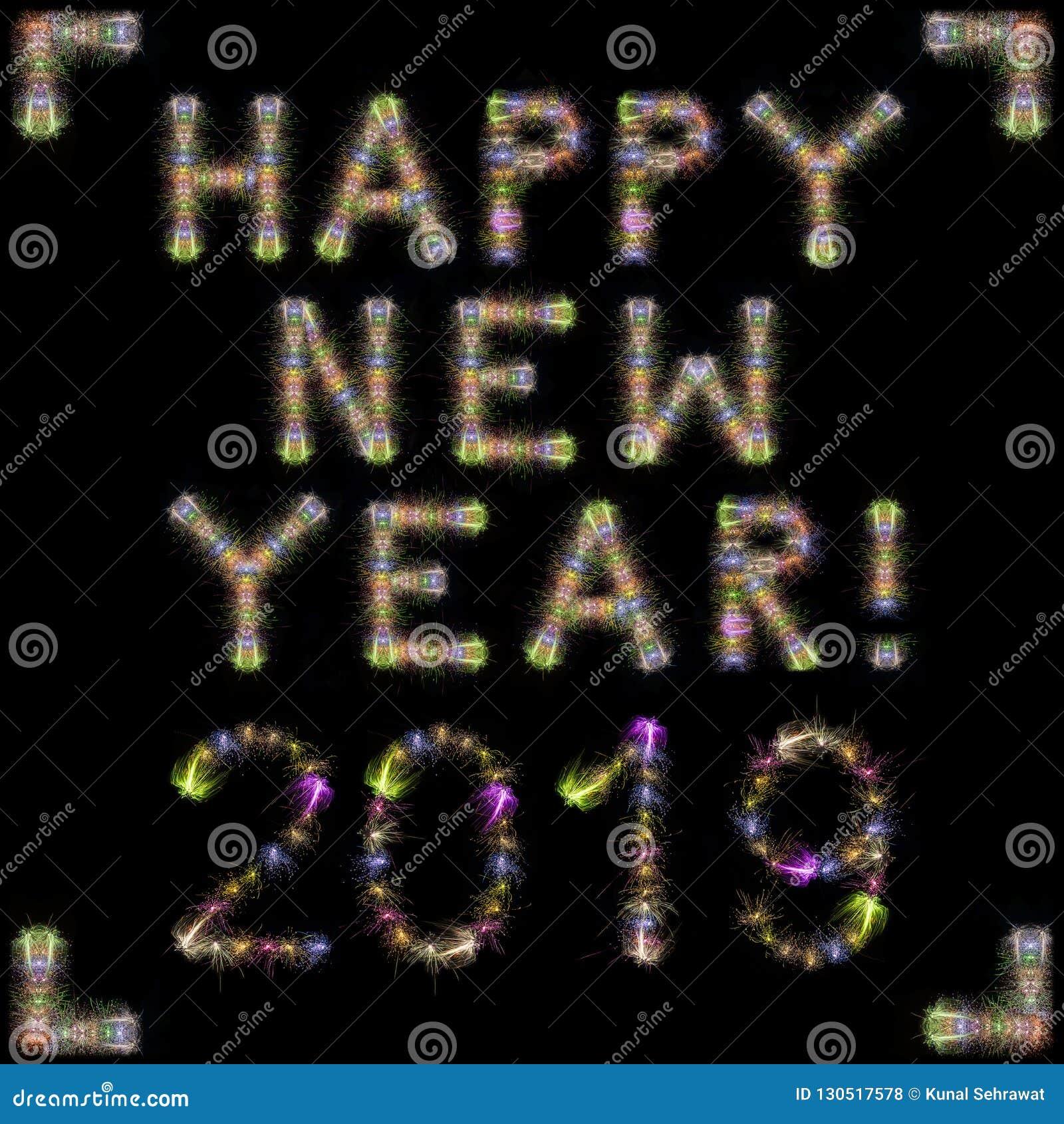 Kvadrerar färgrika mousserande fyrverkerier för lyckligt nytt år 2019 svart sk