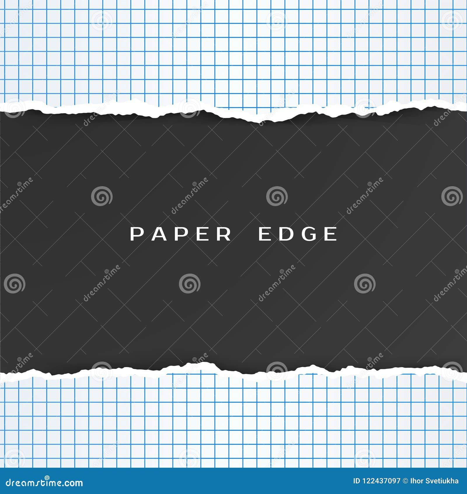 Kvadrerat papper med den sönderrivna kanten Rutig geometripappersmodell också vektor för coreldrawillustration