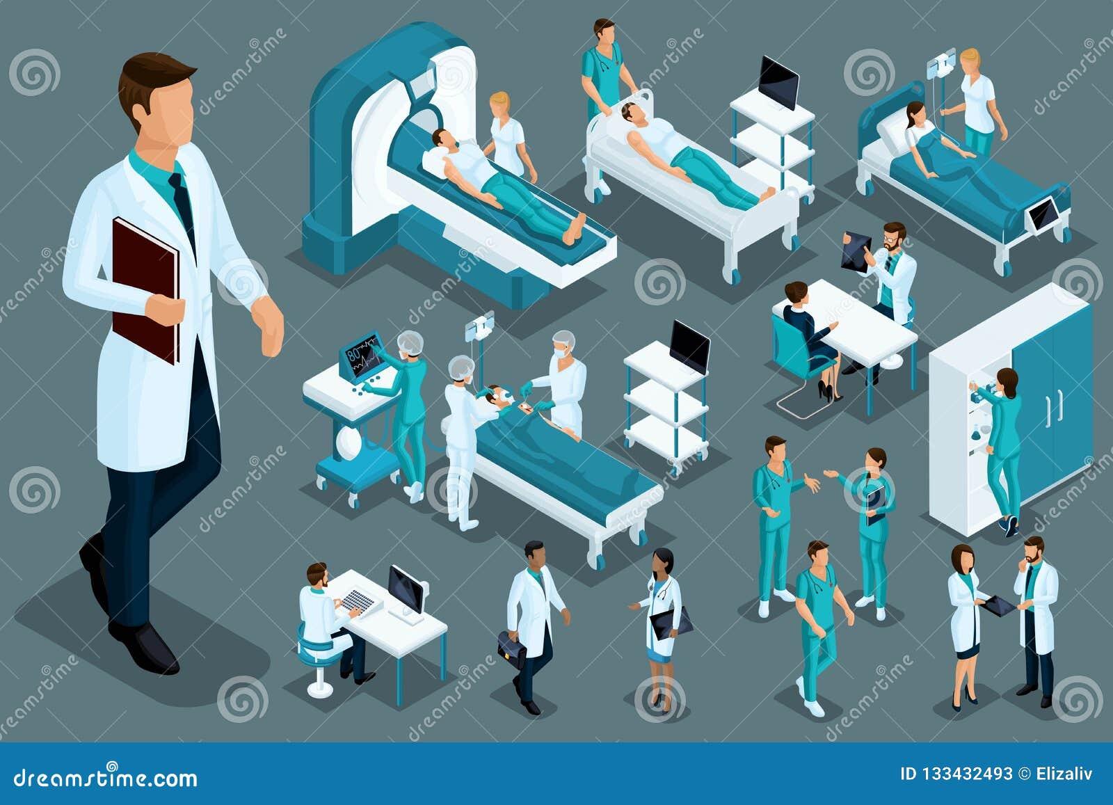 Kvalitets- Isometrics, medicinska arbetare och patienter, sjukhussäng, MRI, röntgenstrålebildläsare, ultraljudbildläsare, tand- s