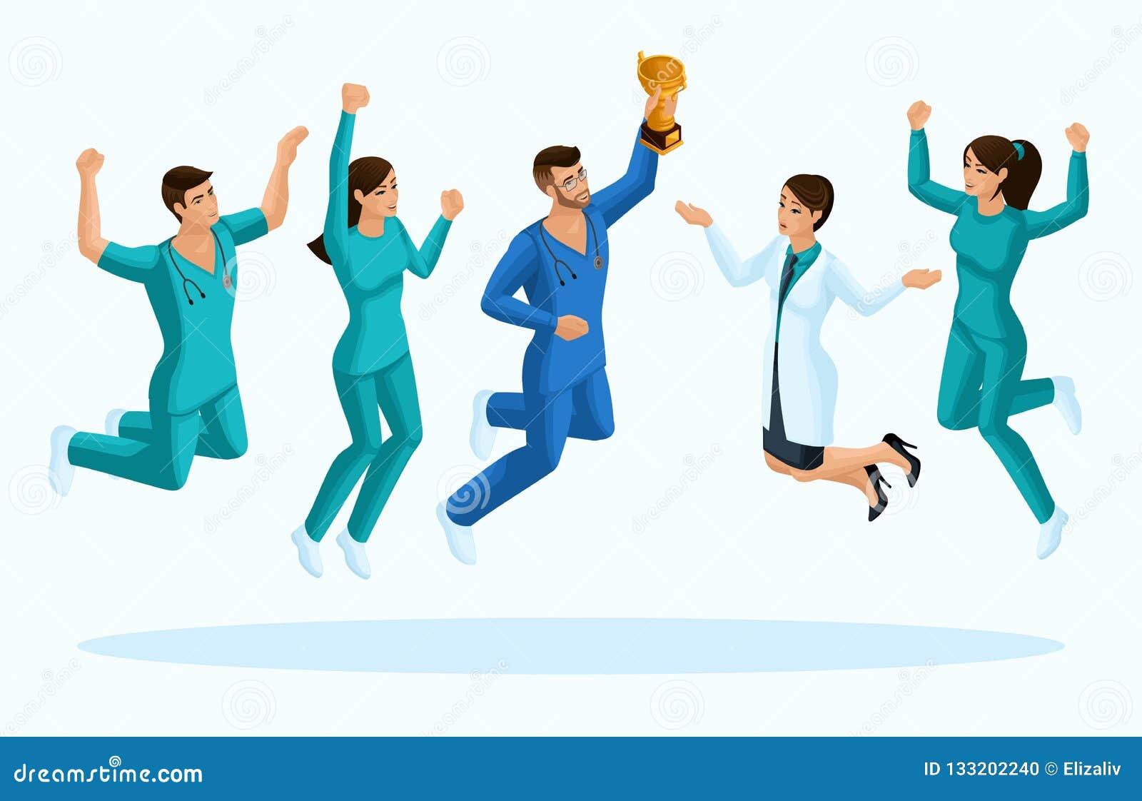 Kvalitets- Isometry, doktorer 3D och en sjuksköterska, hopp, glädje lyckan av medicinska personaler, för annonsering av begrepp