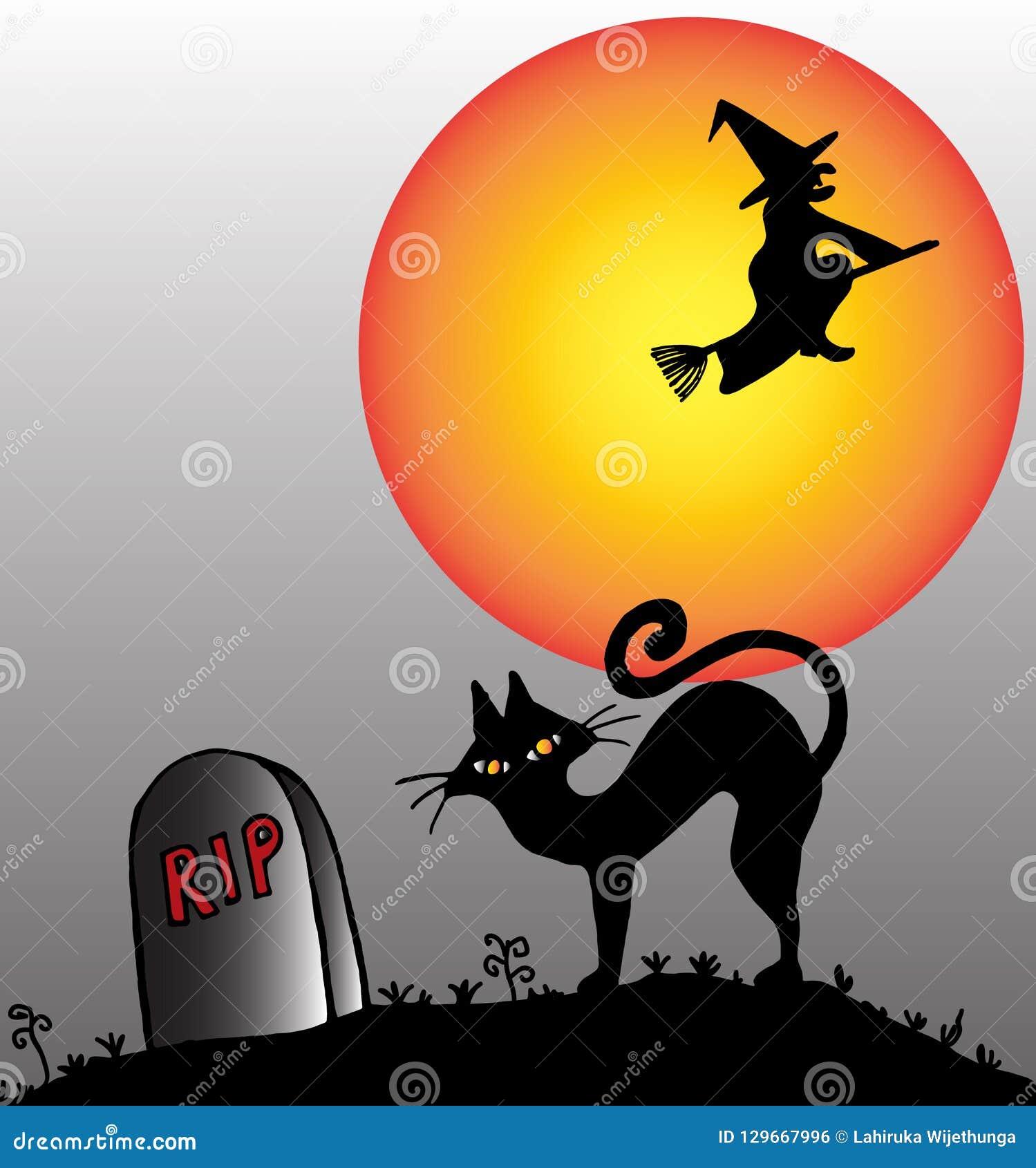 Kvastridninghäxa och en katt i en kyrkogård på en allhelgonaaftonnatt
