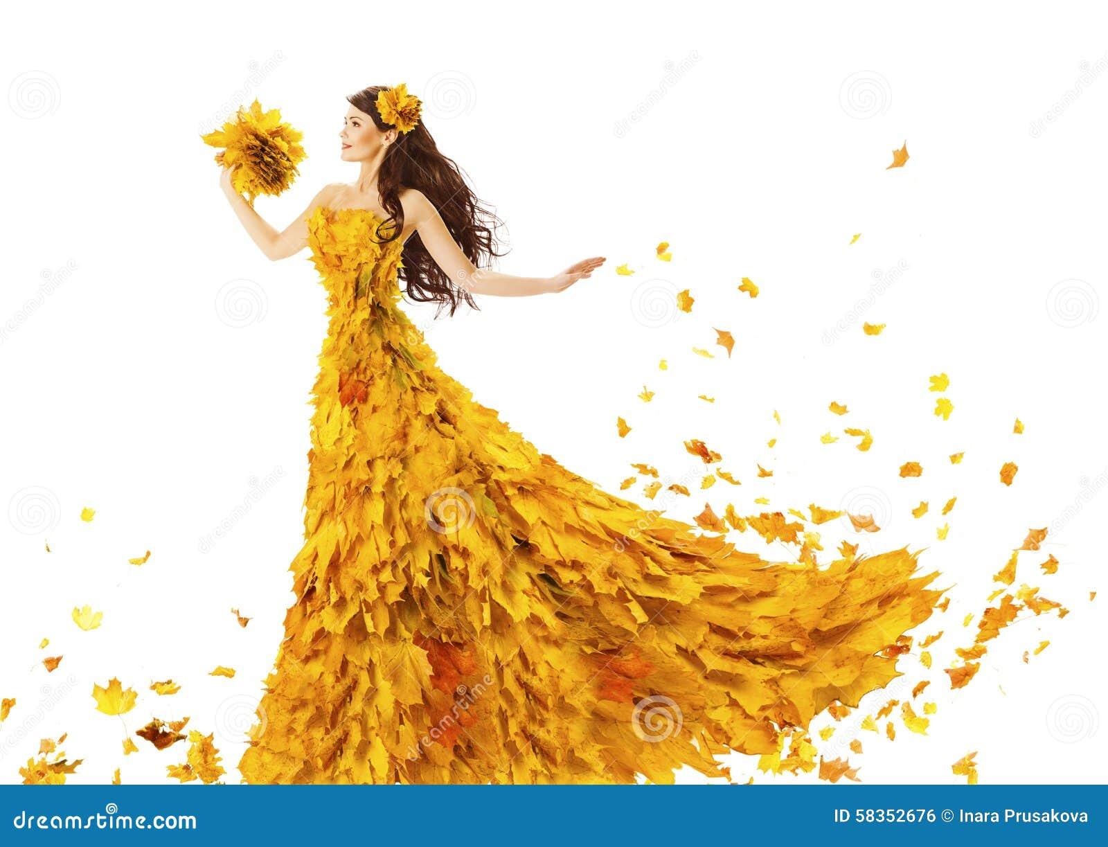 Kvinna Autumn Fashion Dress av nedgångsidor, modell Girl i guling