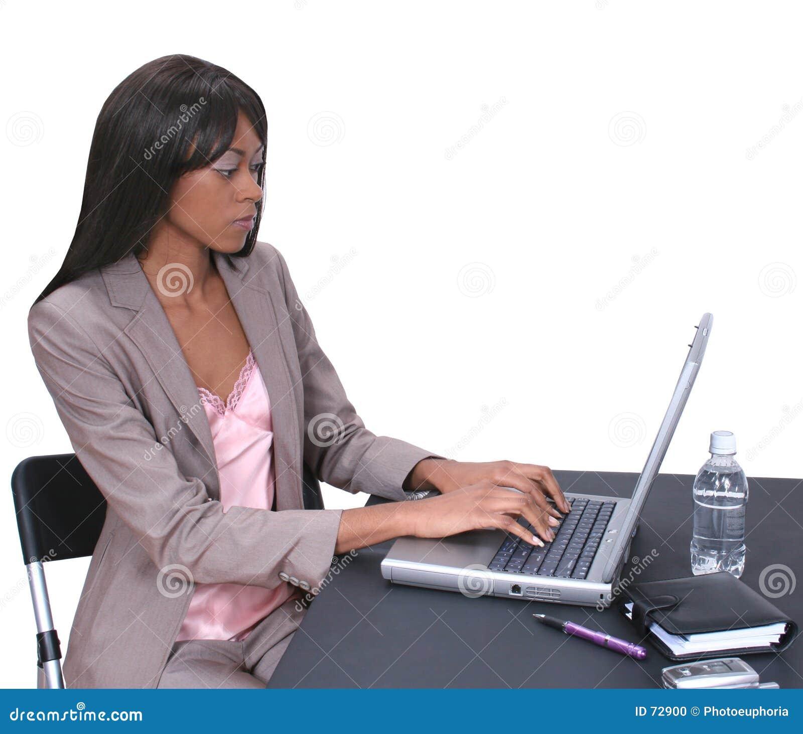 Kvinna för 01 bärbar dator