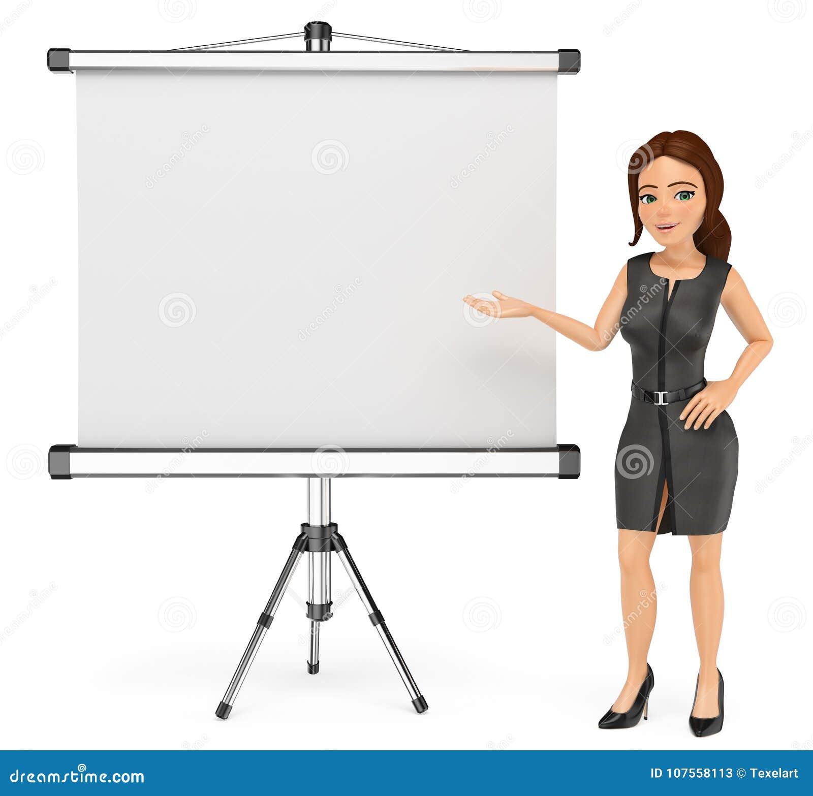 Kvinna för affär 3D med en tom projektorskärm