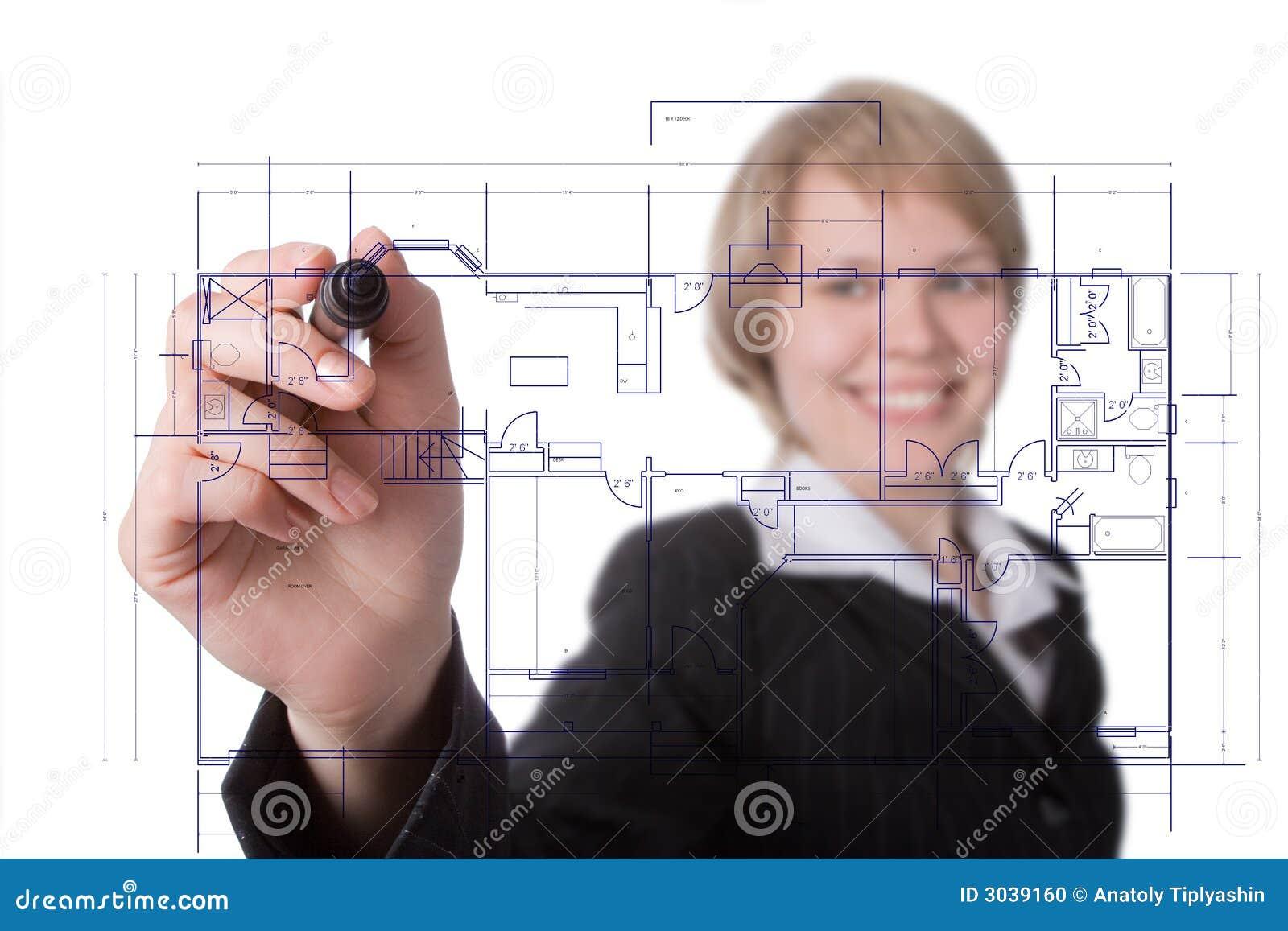 Kvinna för affärsdrawgraf