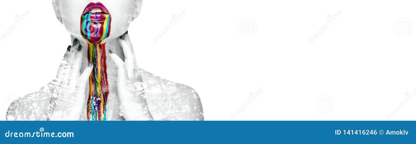 Kvinna för dubbel exponering med idérik ljus sminkpanorama på vit bakgrund