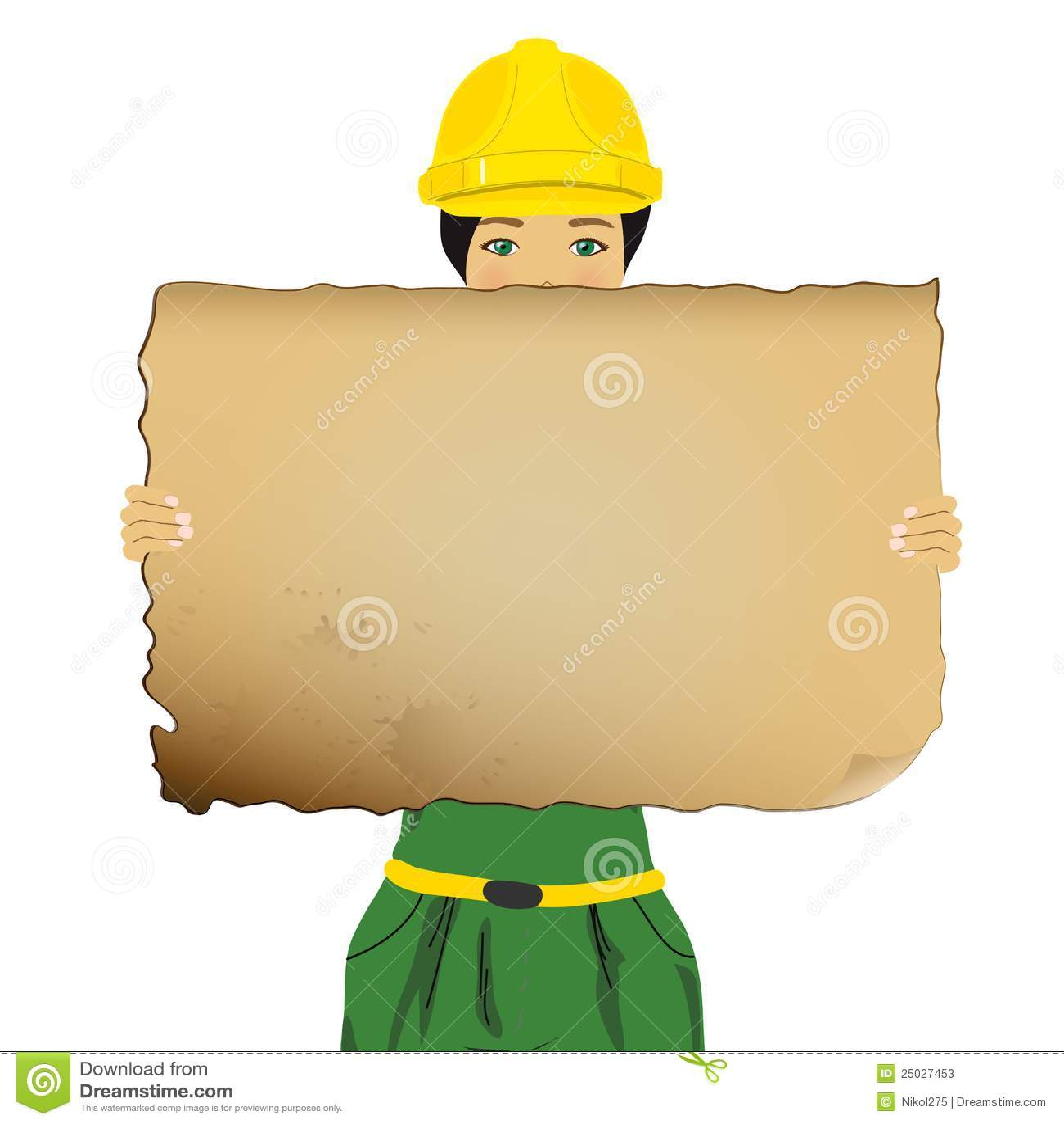 Kvinna för holding för brädeconstructor tom