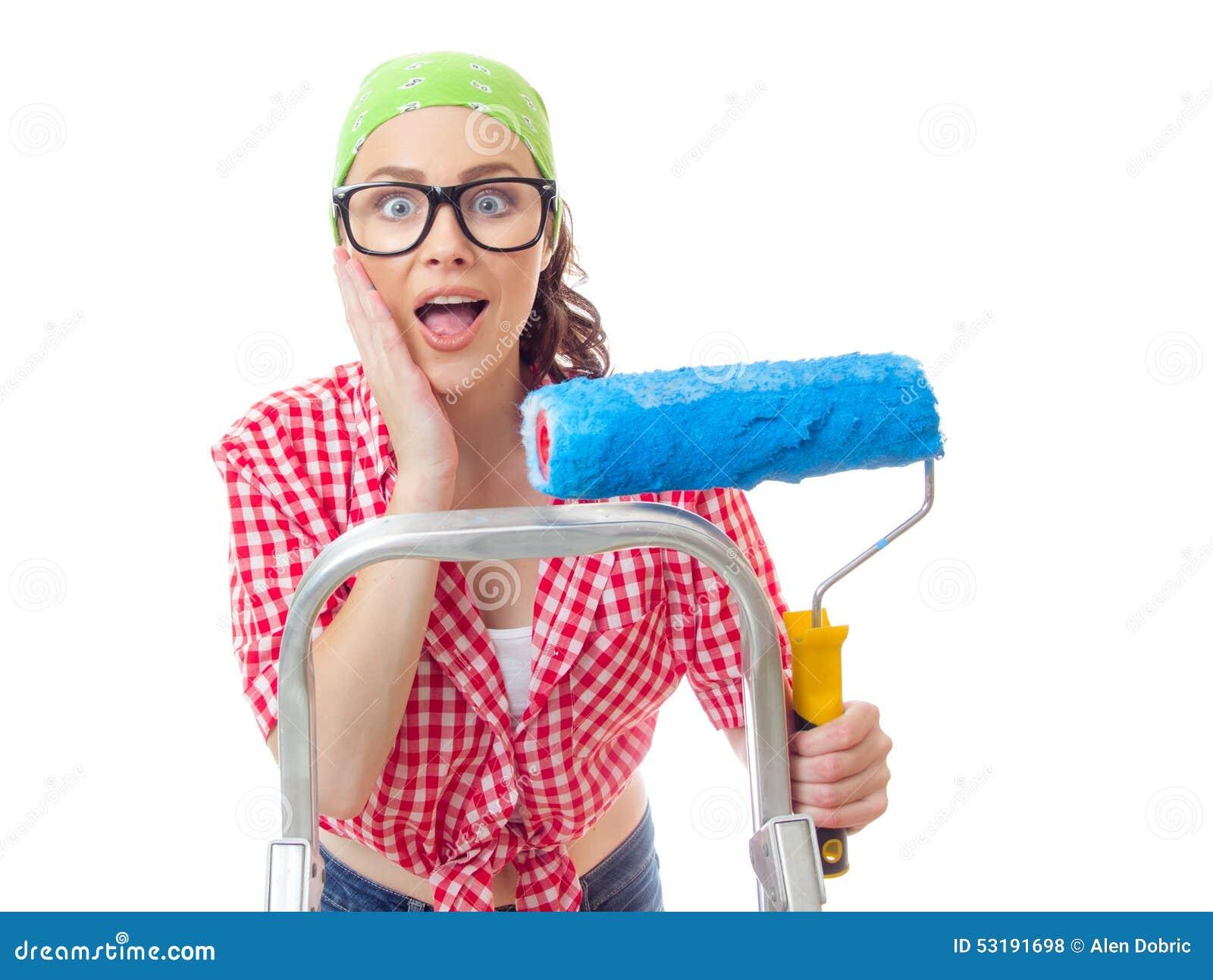 Kvinna för husmålare