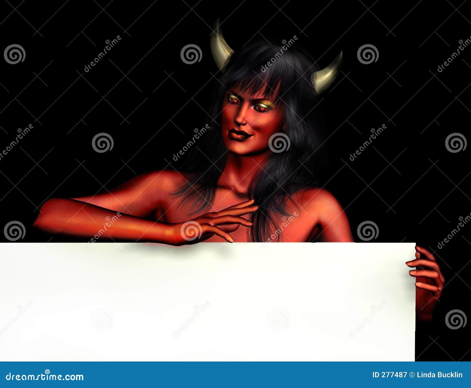 Kvinna för jäkelkanttecken